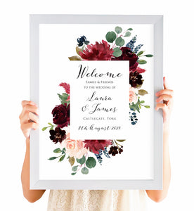 Burgundy, Navy & Blush Floral Welcome Sign, Burgundy Navy Invite, Rustic Floral, Blush Wedding Invite, Boho Floral Wedding