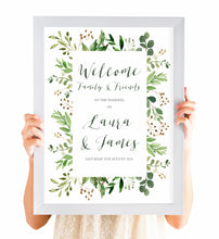 Green Leaf Welcome Sign, Watercolour Foliage, Greenery, Eucalyptus Invites, Green Wreath, Botanical Wedding