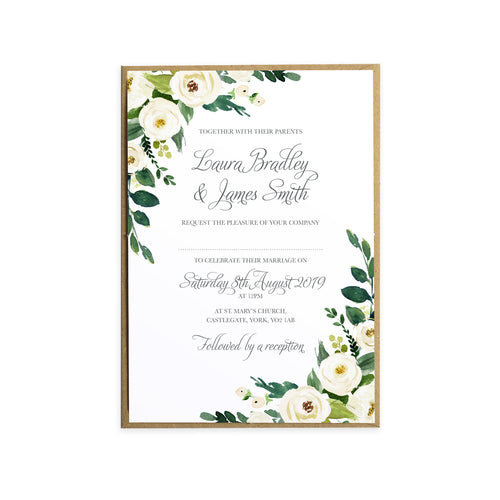 White Wedding Invitations, White Floral Watercolour, White Peony, White Rose Invites, Botanical Wedding, 10 Pack