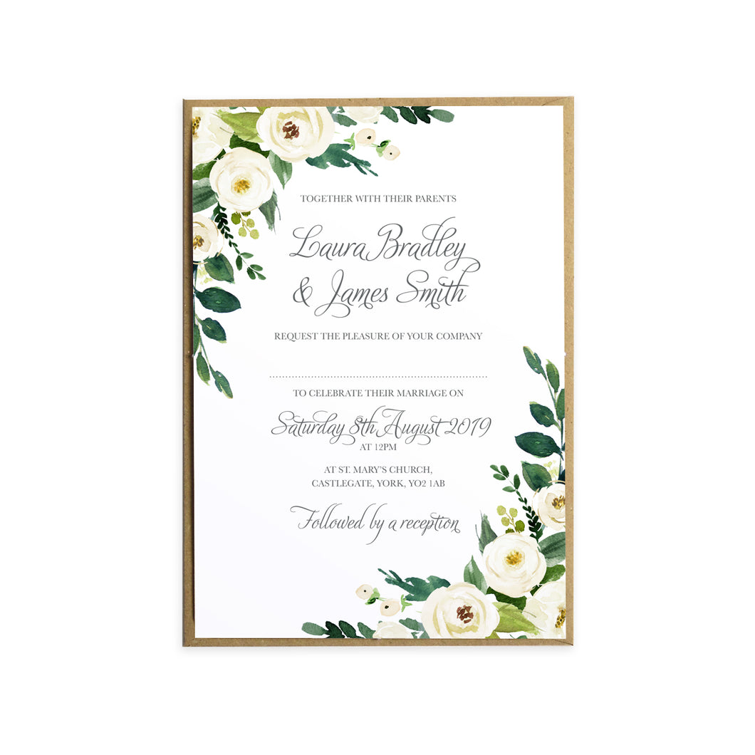 White Wedding Invitations, White Floral Watercolour, White Peony ...