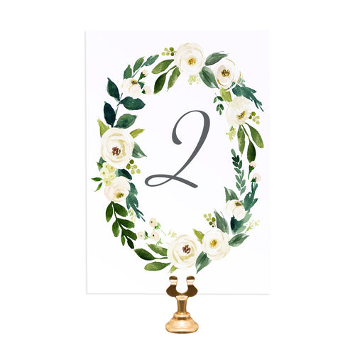 White Wedding Table Numbers, Table Names, White Floral Watercolour, White Peony, White Rose Invites, Botanical Wedding, 5 Pack