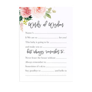 Blush Rose Baby Shower Words of Wisdom postcards, Baby Shower Game, Blush Baby Shower, Blush Flowers, Blush Ivory, 10 Pack