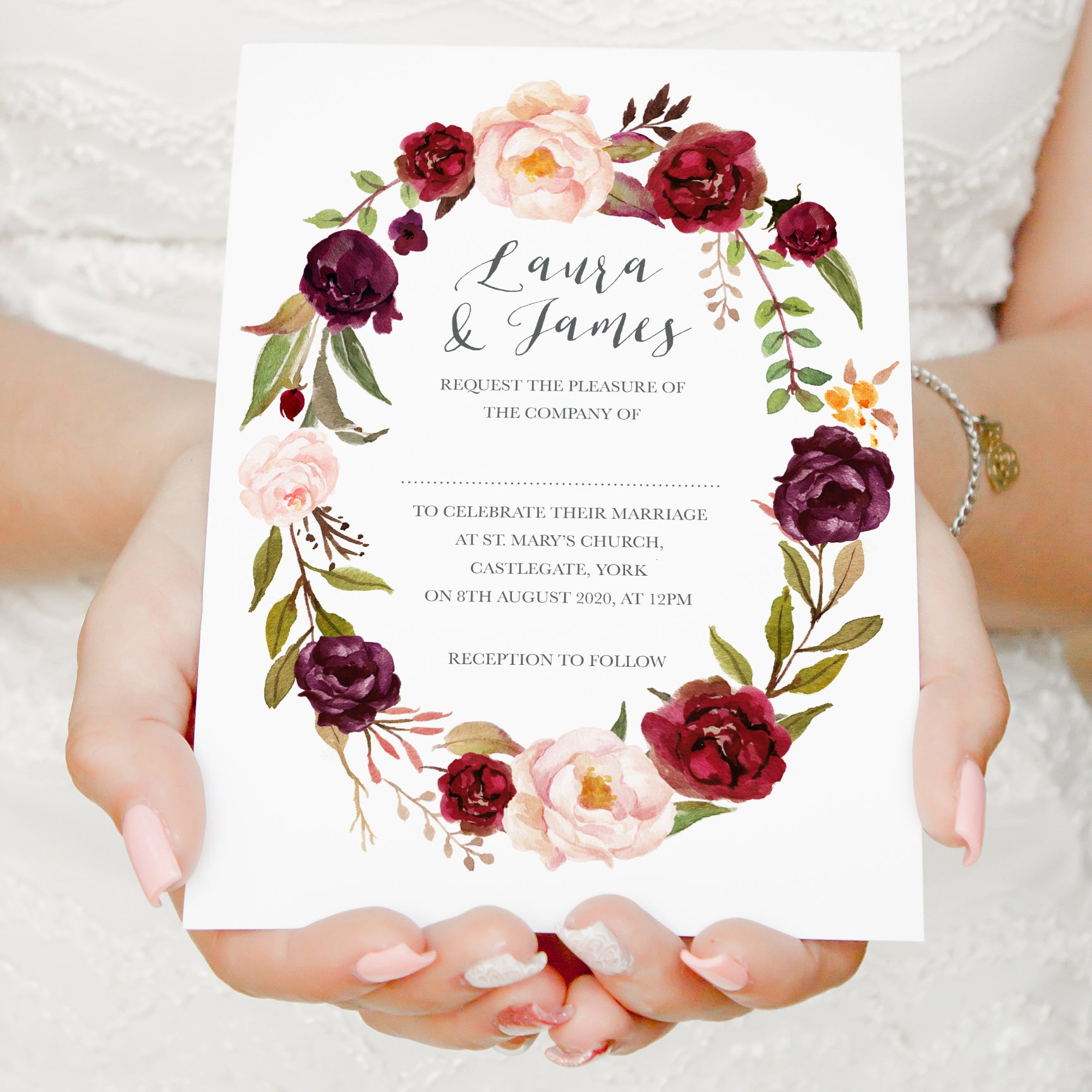 Wedding Invitations With Red Roses: Boho Red Rose Wedding Invitations, Oval Wreath, Burgundy