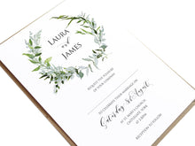 Greenery Wedding Invitations, Round Wreath, Green Wreath, Eucalyptus Wreath, Green Leaf, Botanical Wedding, Leaf Invitation, 10 Pack