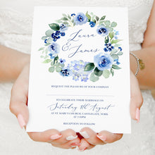 Navy Rose Wedding Invitations, Wreath, Watercolour roses, Navy Wedding, Blue Wedding, 10 Pack