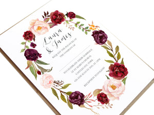 Boho Red Rose Wedding Invitations, Oval Wreath, Burgundy Invite, Red Roses, Red Wedding, Boho Floral Wedding Invite, 10 Pack
