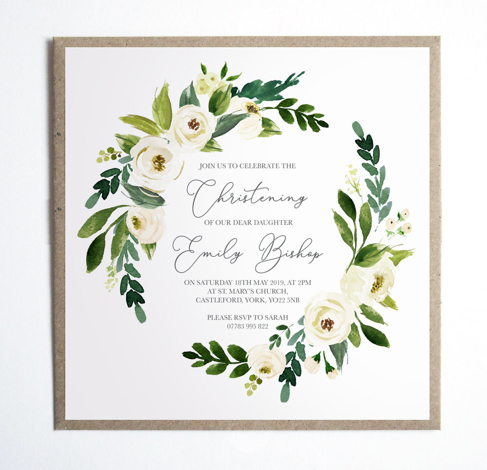 Ivory Floral Christening Invitations, Square, Baptism Invitation, White Roses, 10 Pack