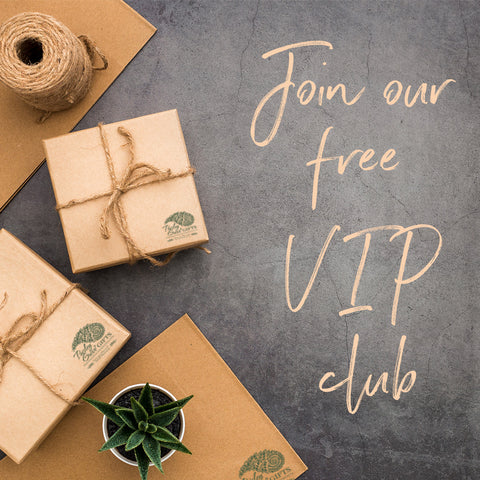 Join the PaisleyGroveVIP Club, gifts wrapped in kraft paper