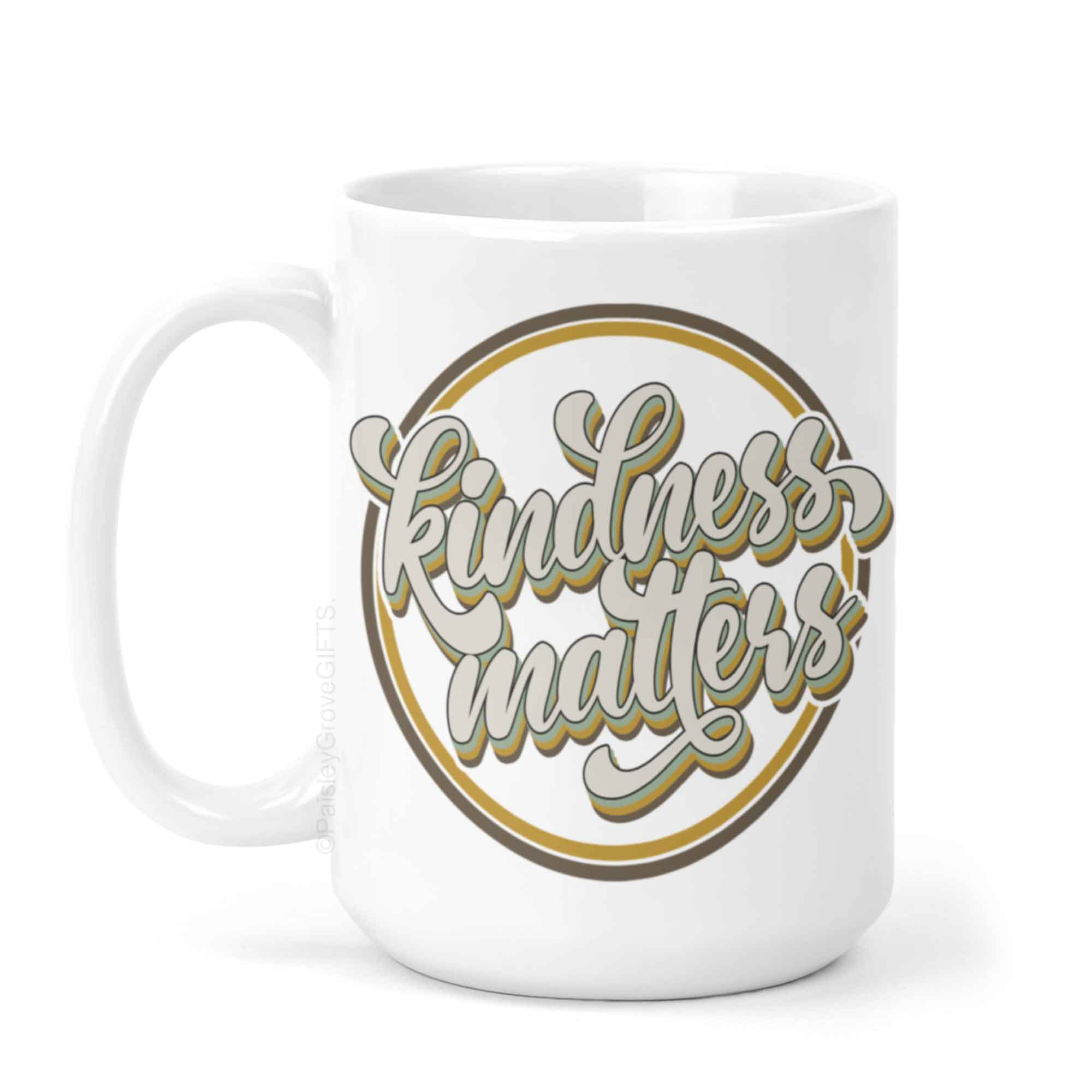 CopyrightPaisleyGroveGIFTS P001a Retro Kindness Matters Coffee Mug in Modern Boho colors