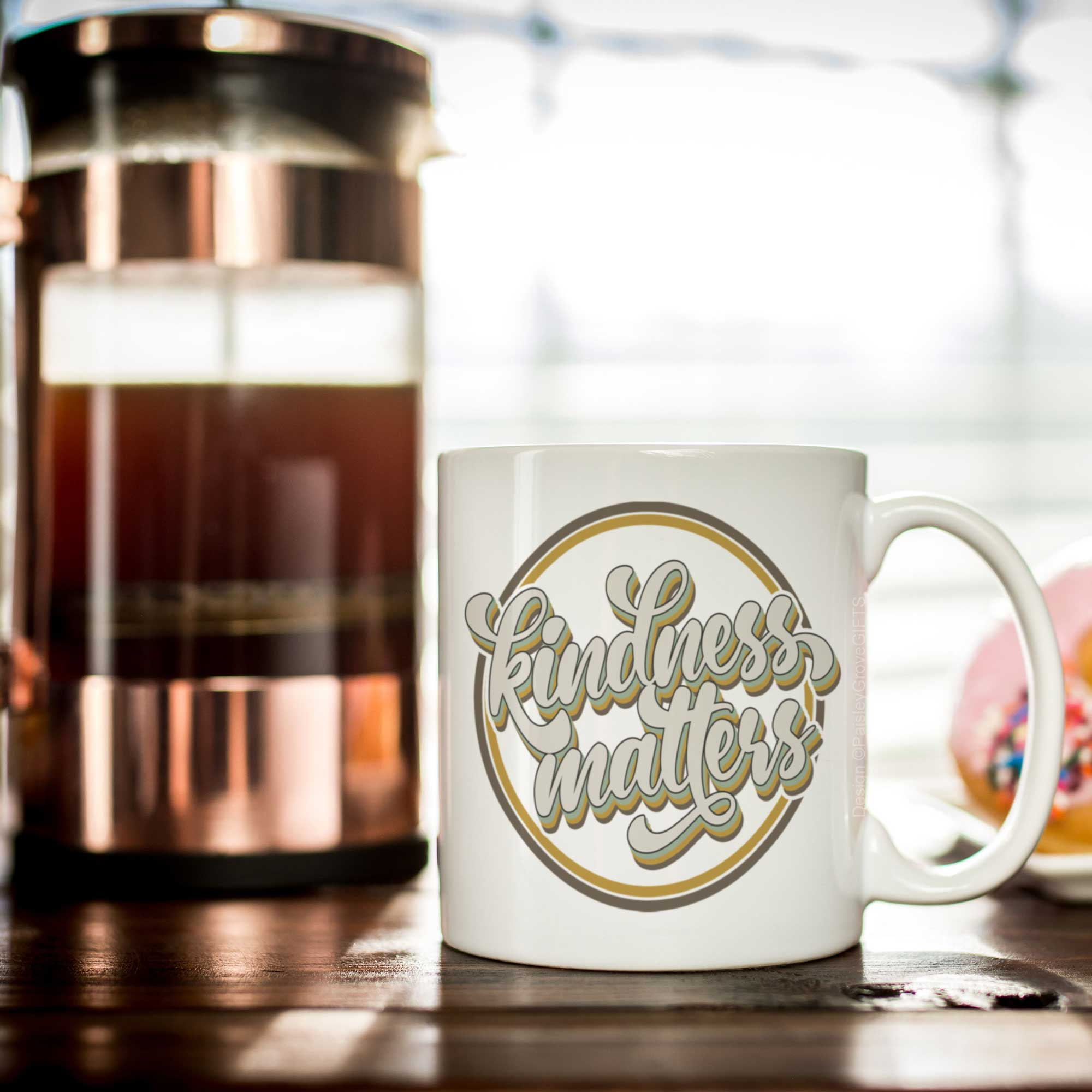 CopyrightPaisleyGroveGIFTS P001a Gift for Coffee Lovers Retro Kindness Matters Coffee Mug