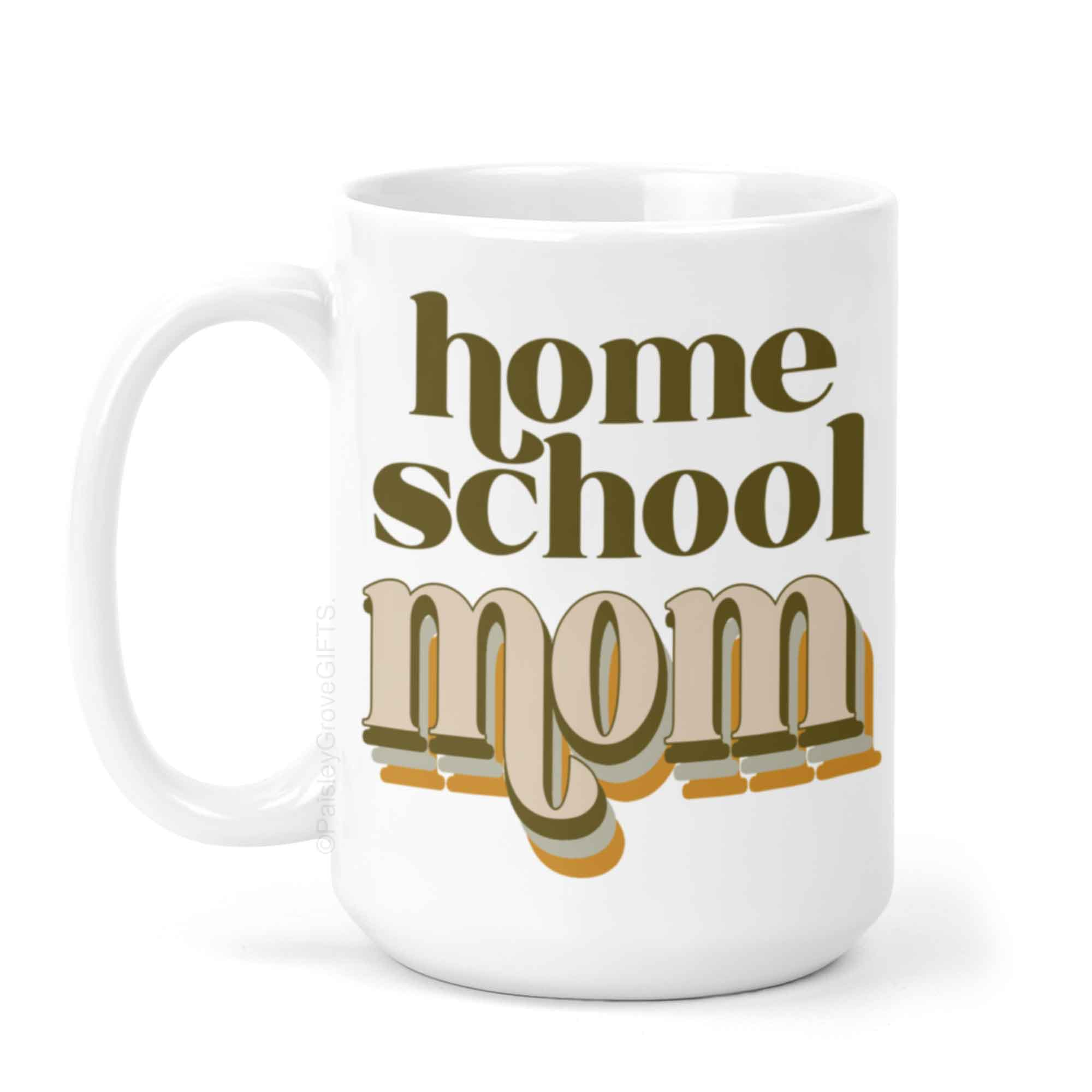CopyrightPaisleyGroveGIFTS P001g Retro Homeschool Mom Coffee Mug in 70s modern boho colors