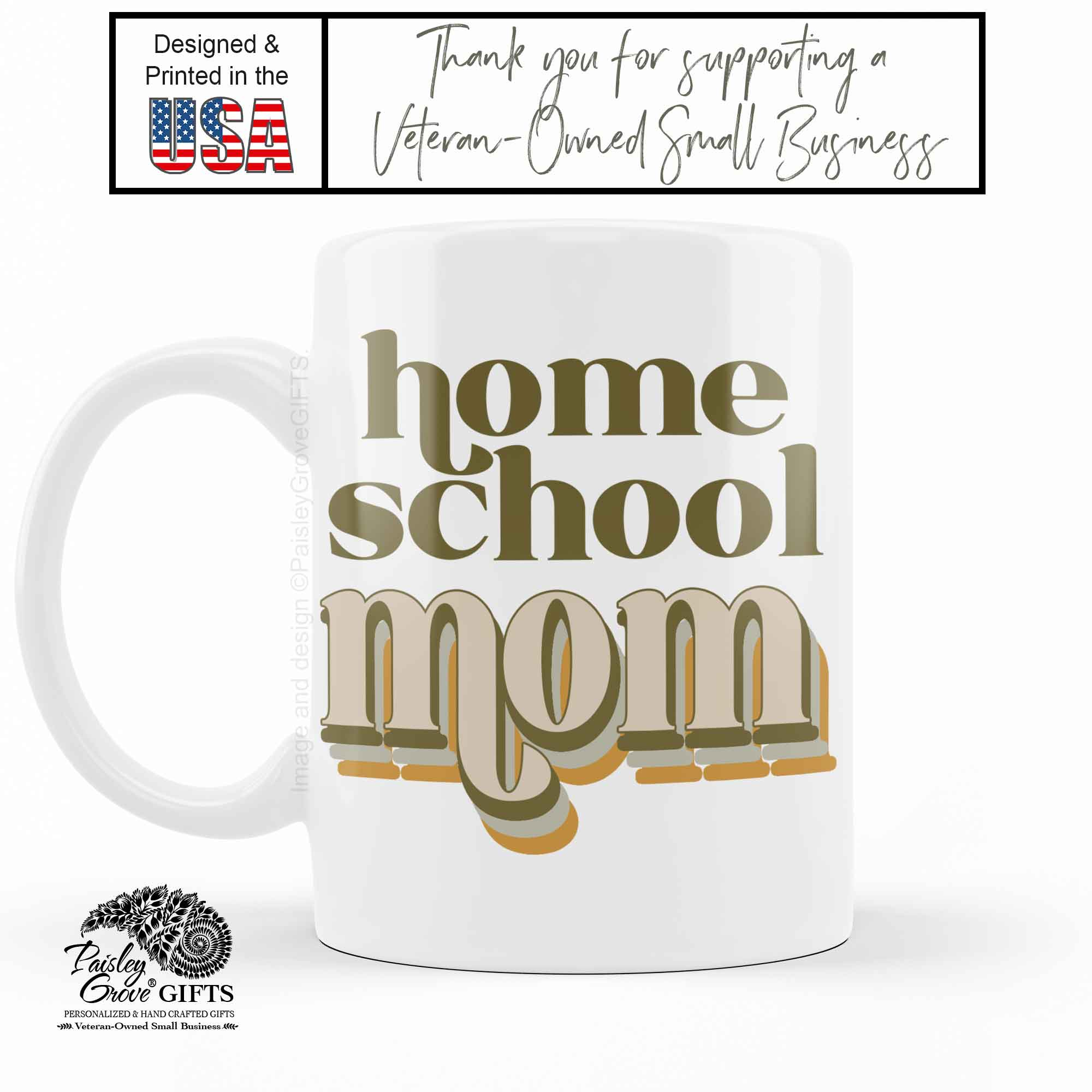 CopyrightPaisleyGroveGIFTS P001g Original art by PaisleyGroveGIFTS Retro Home school Mom Ceramic Coffee Mug