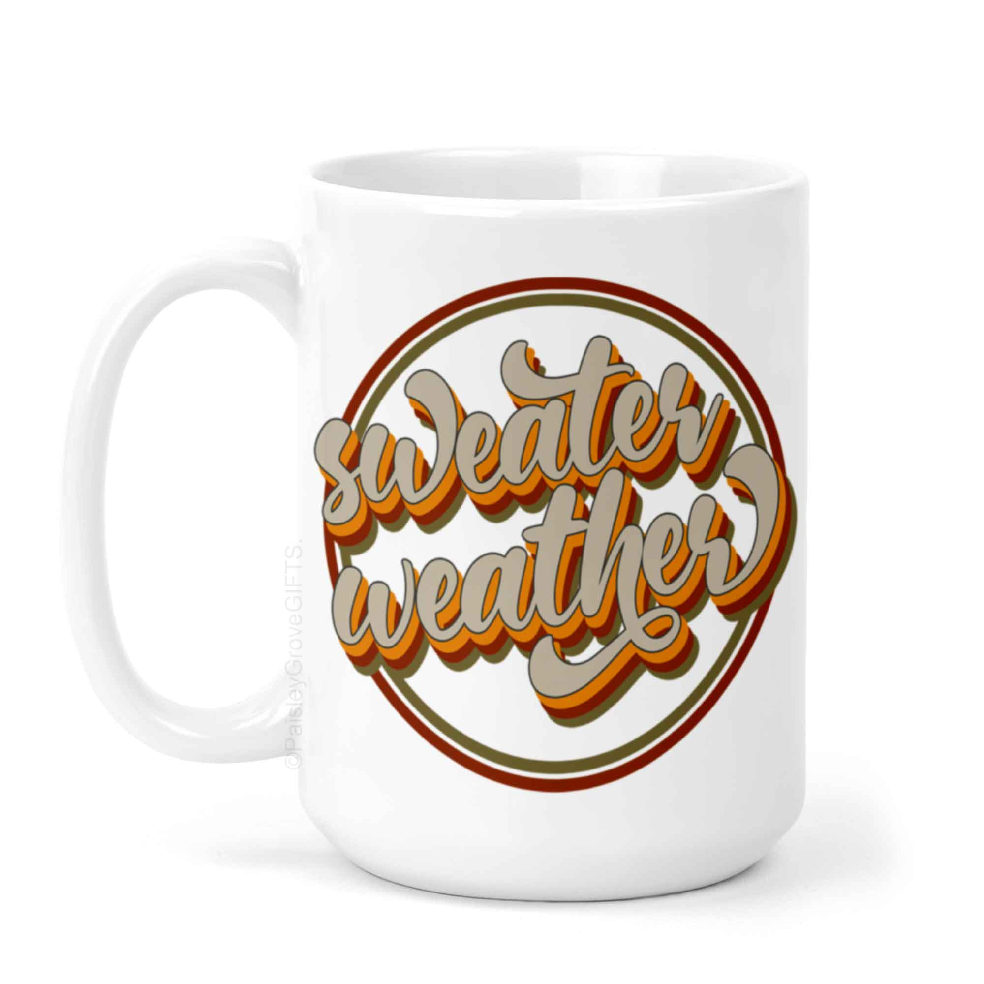 CopyrightPaisleyGroveGIFTS P002a Sweater Weather Coffee Mug in Retro Fall Colors PSL Mug