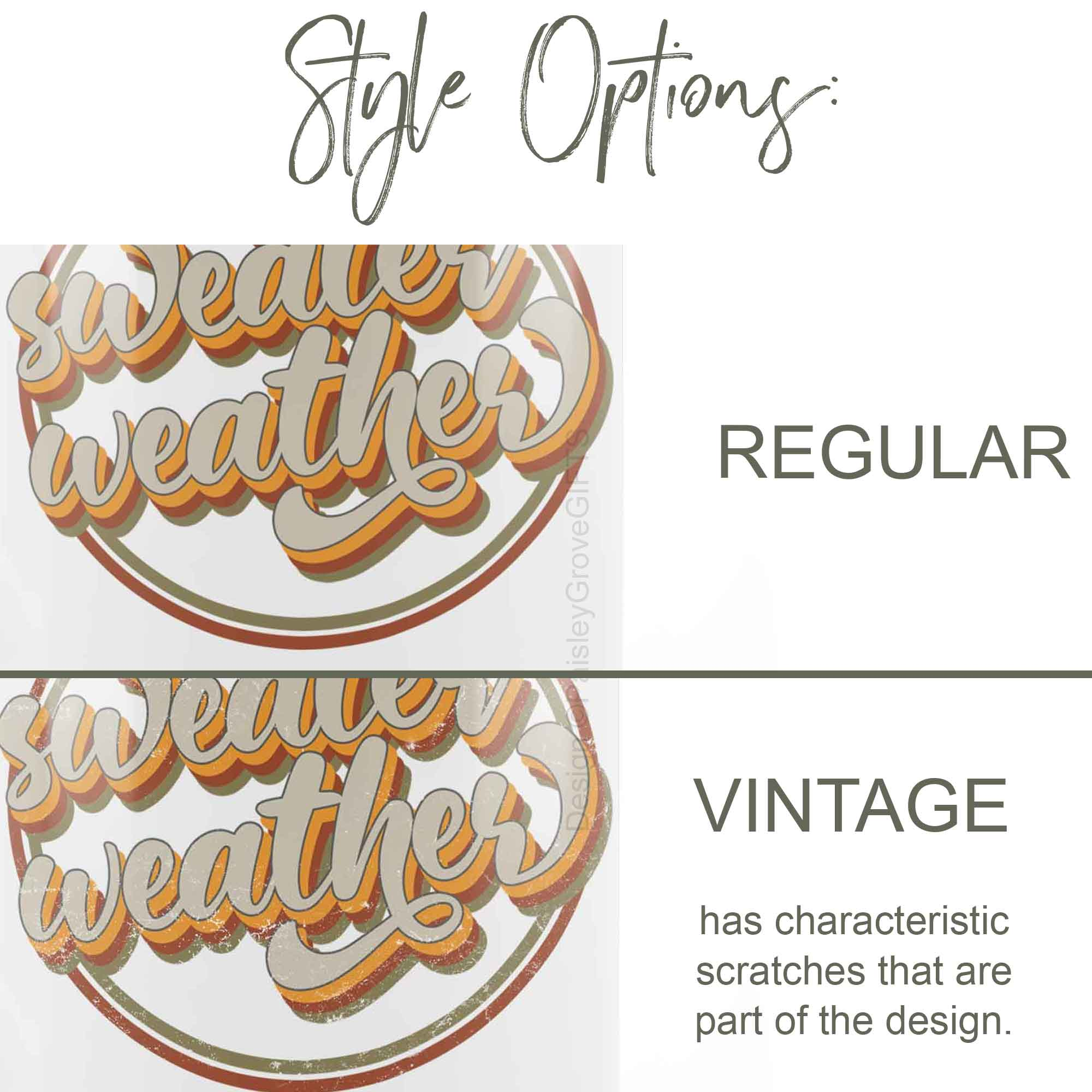 CopyrightPaisleyGroveGIFTS P002a Style options regular or with vintage scratches Sweater Weather Coffee Mug