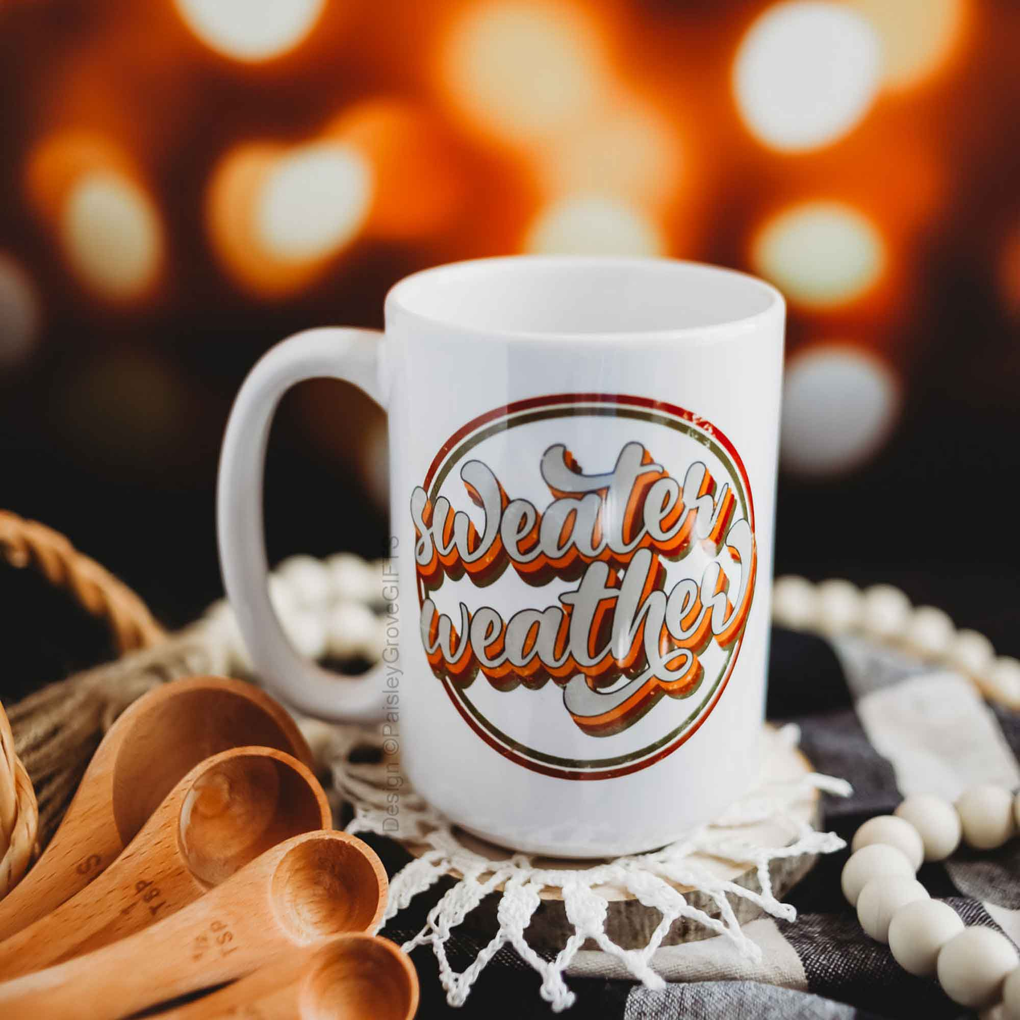 CopyrightPaisleyGroveGIFTS P002a Styled Sweater Weather 15 ounce mug for Fall Autumn Pumpkin Spice