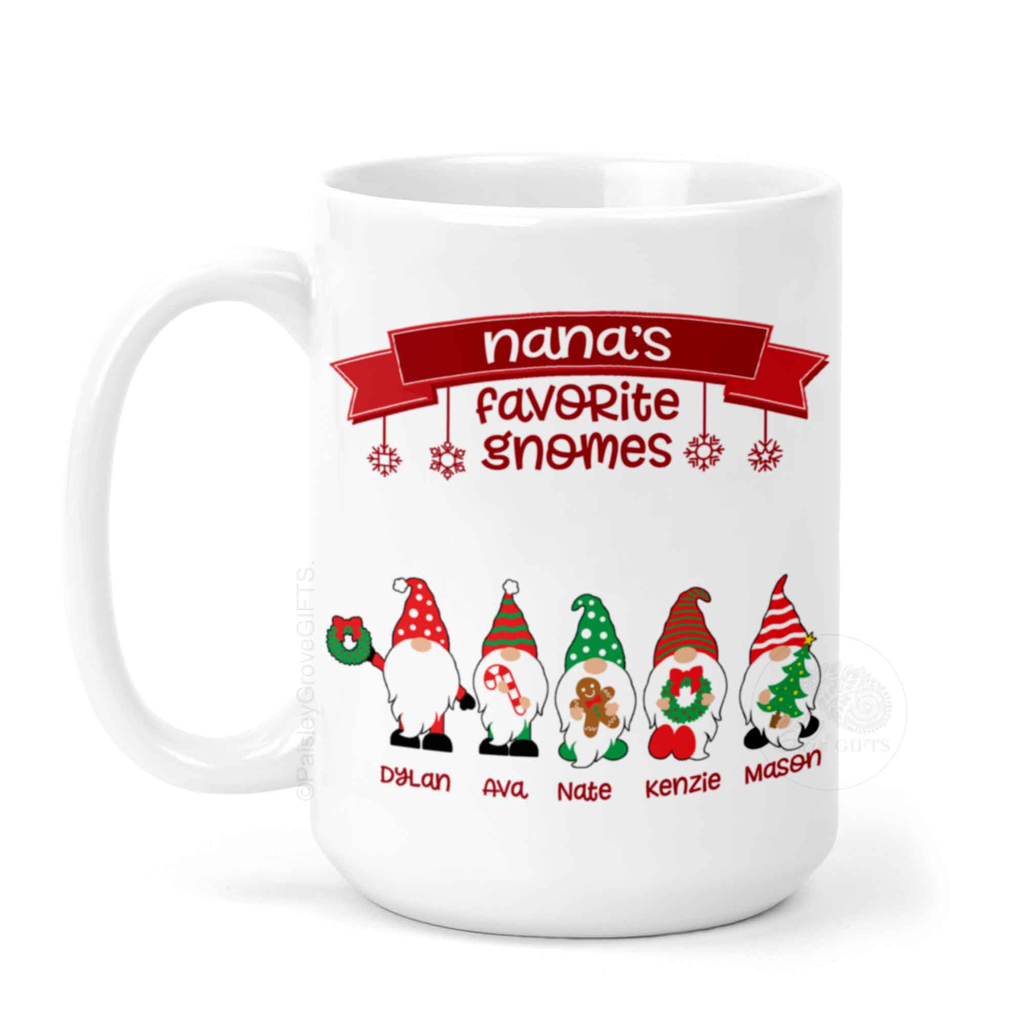 CopyrightPaisleyGroveGIFTS P010a2 Personalized Grandma Mug with Gnomes and grandkid's names