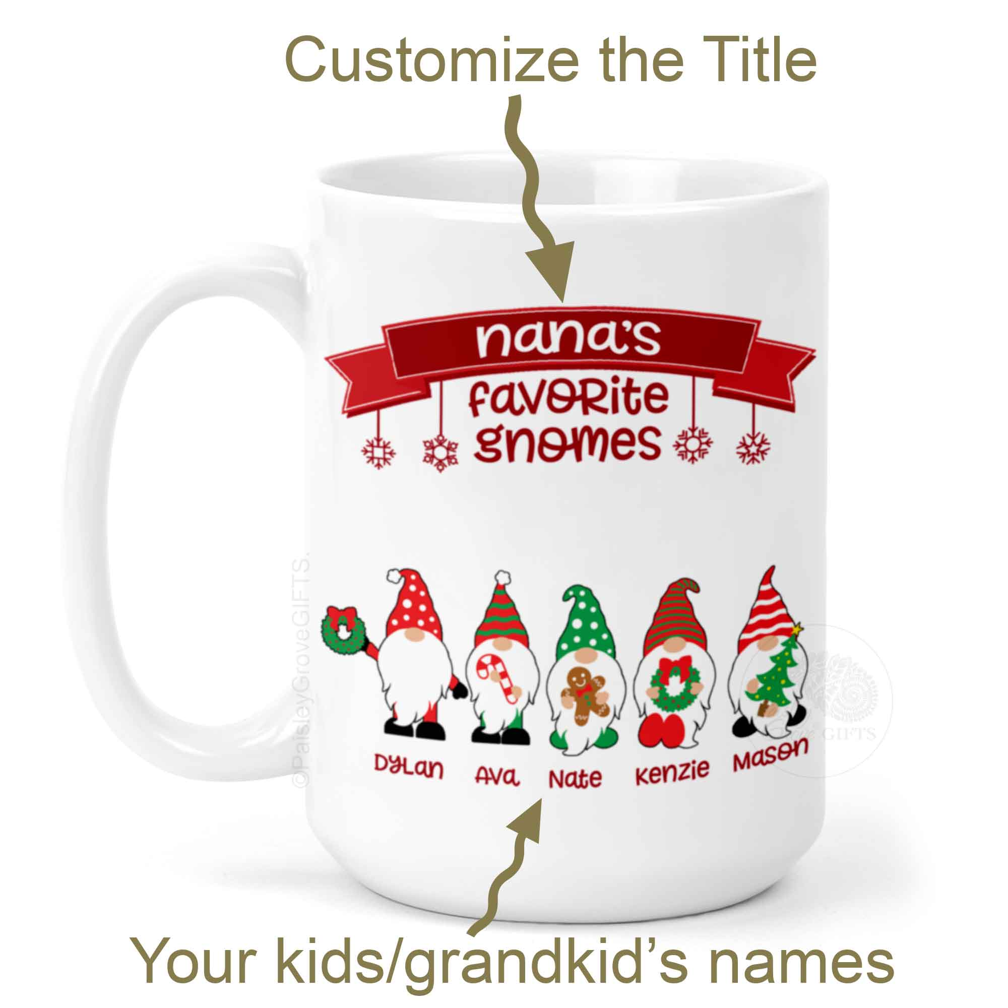 Personalized Grandma and Mom Mug with Gnomes and Kids' or Grandkids' Names | PaisleyGroveGIFTS P010a2