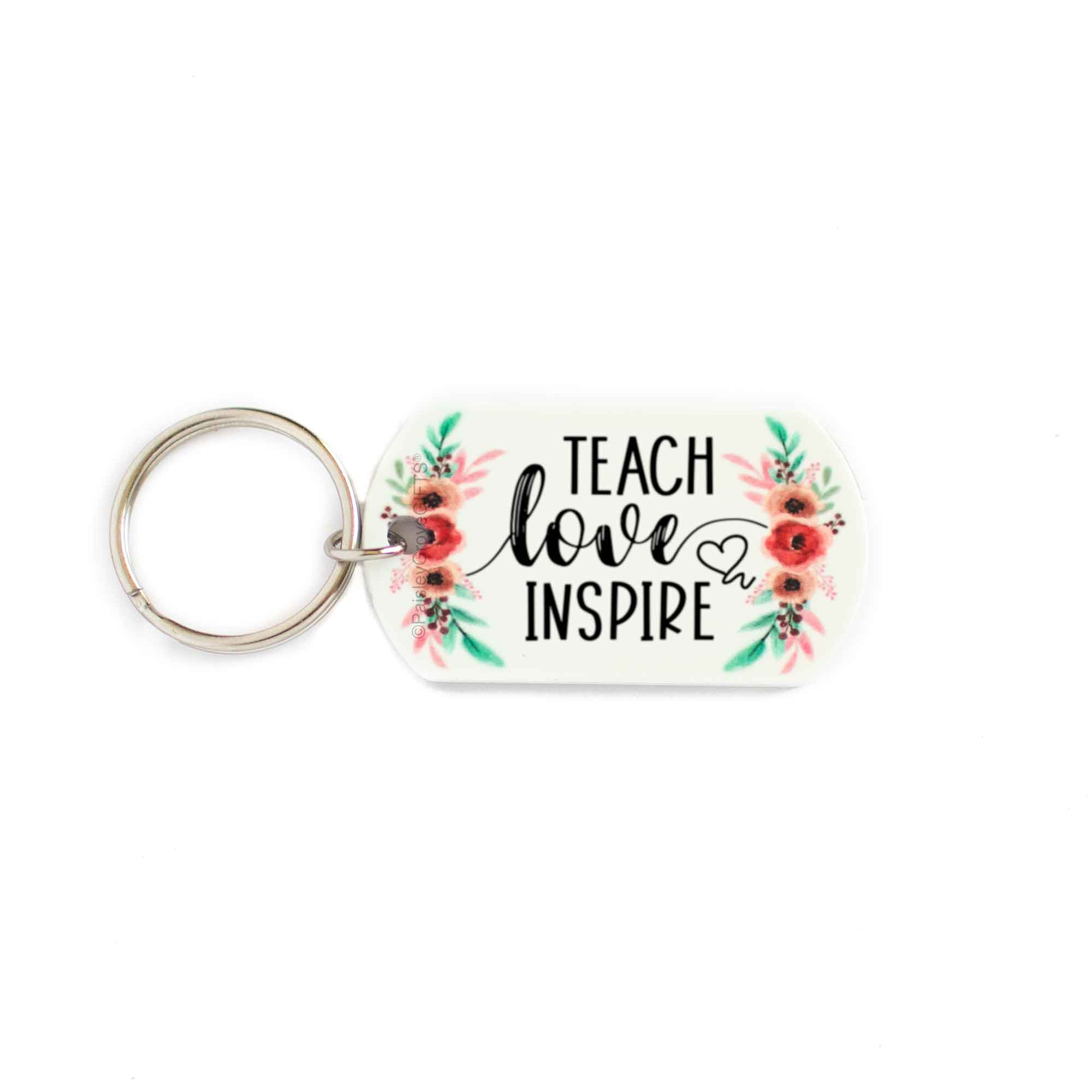 CopyrightPaisleyGroveGIFTS S005b Teach Love Inspire teacher keychain with pink watercolor floral design