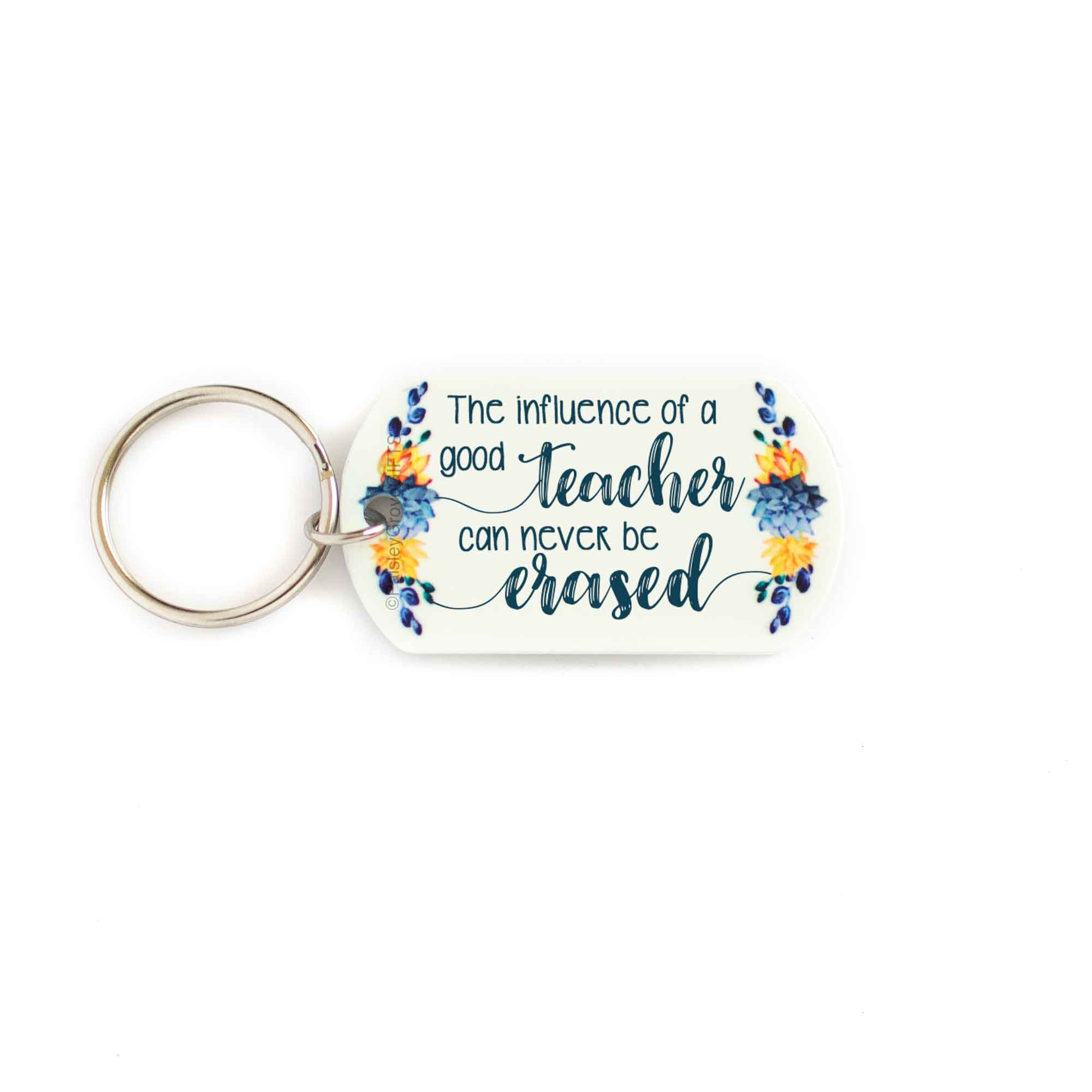 CopyrightPaisleyGroveGIFTS S005c Sentimental teacher keychain with teal succulent cactus design