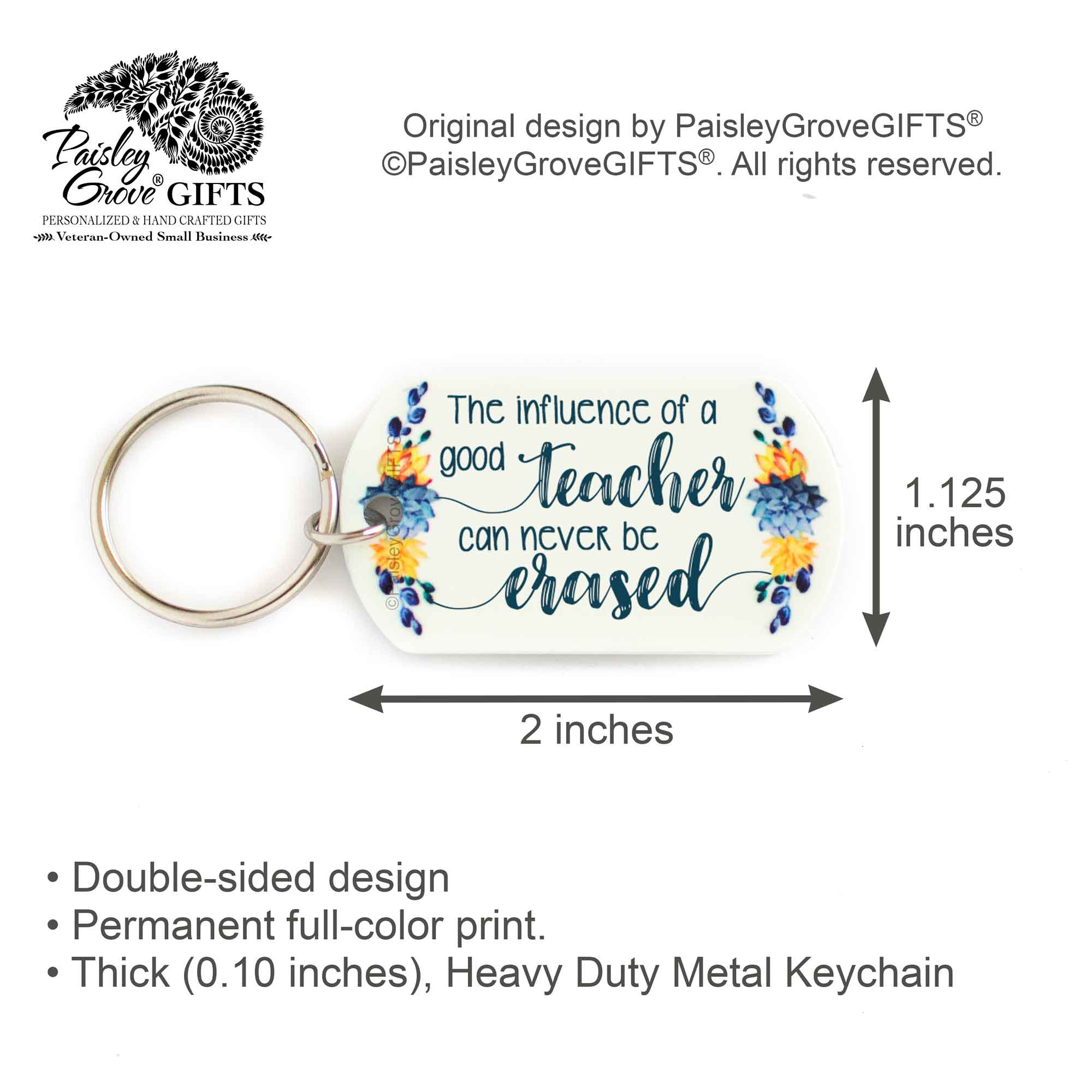 CopyrightPaisleyGroveGIFTS S005c Sentimental teacher key ring cactus gift for teachers measurement