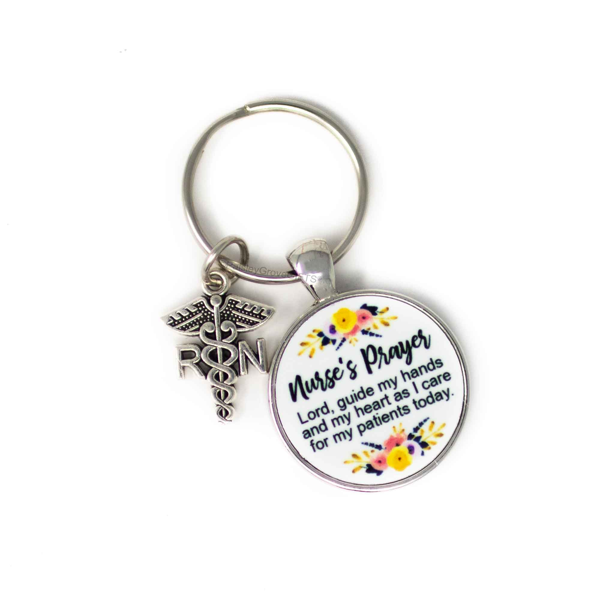 Copyright PaisleyGroveGIFTS S006c Nurse's Prayer Keychain with watercolor flowers