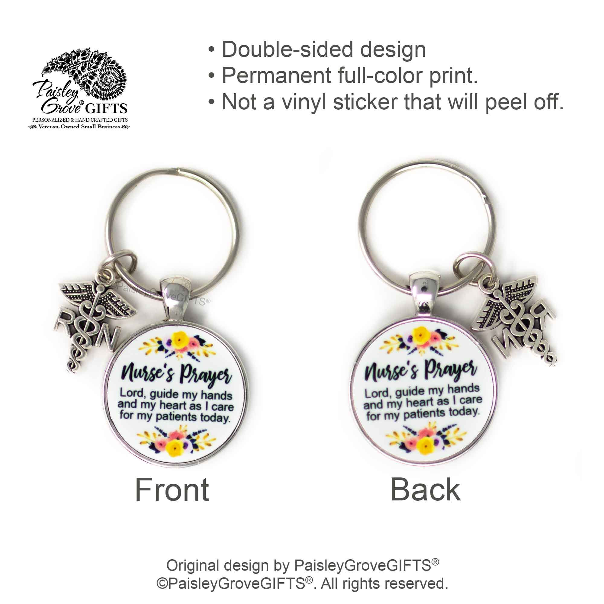 Copyright PaisleyGroveGIFTS S006c Nurse Keychain Double-Sided with RN charm