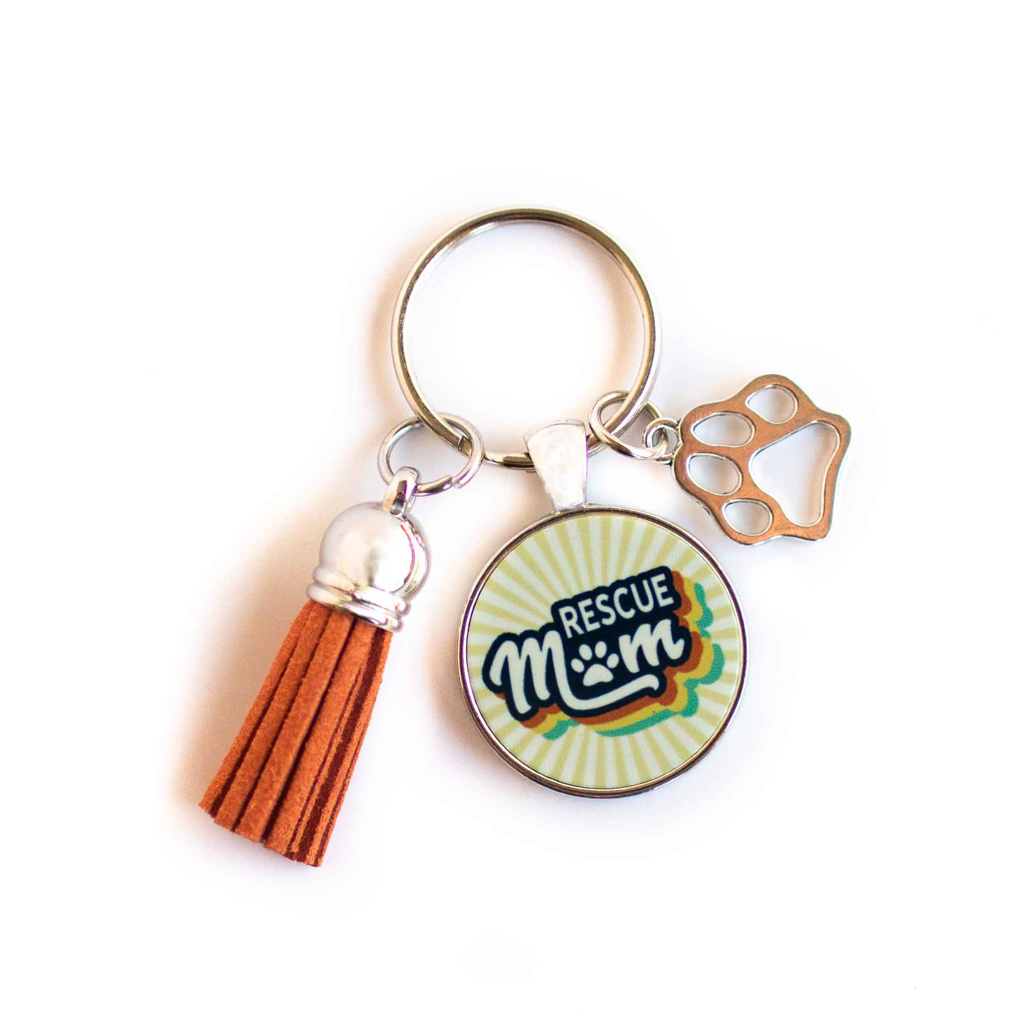 CopyrightPaisleyGroveGIFTS S009a Rescue Mom Keychain with Burnt Orange Tassel and Paw Charm Retro Vintage Style