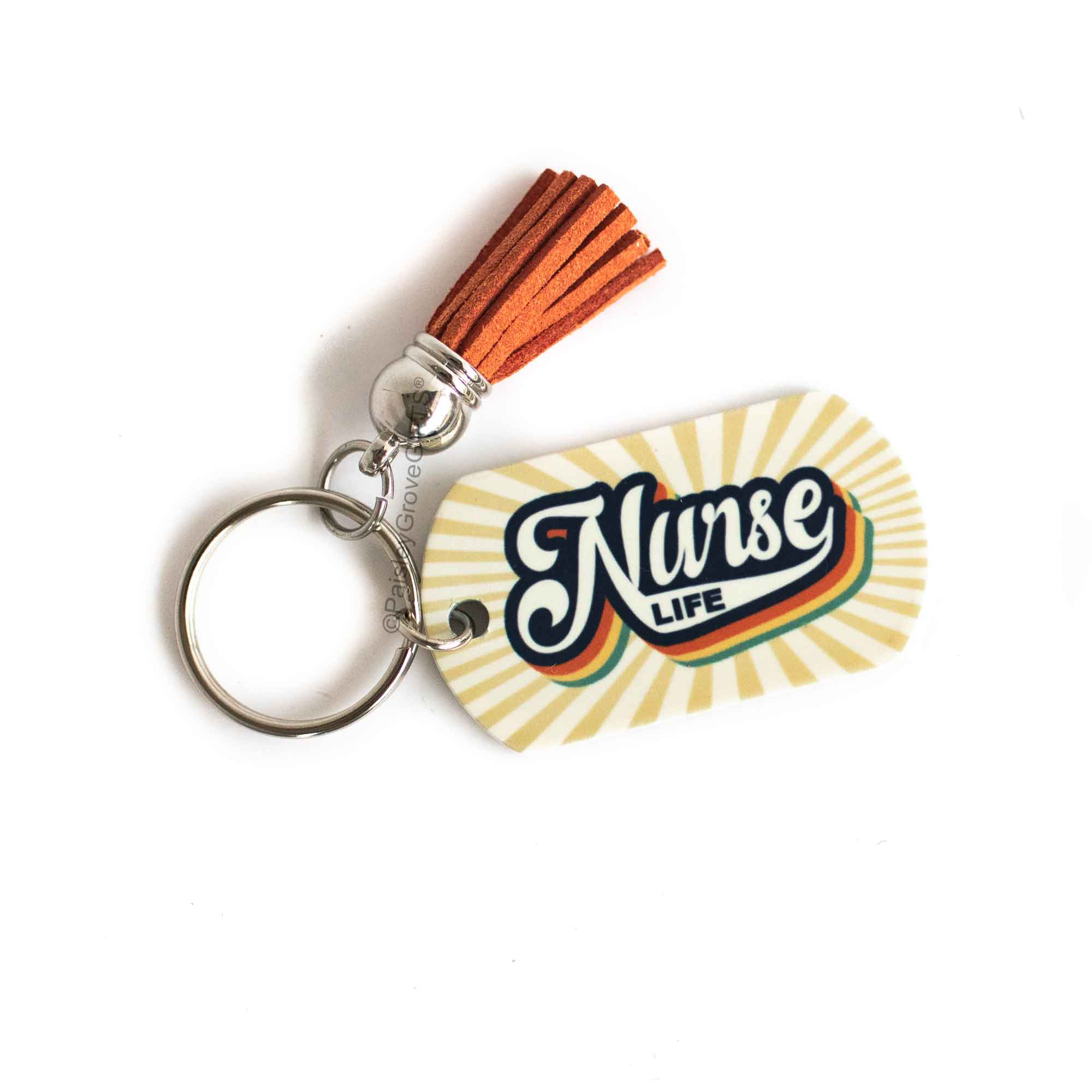 CopyrightPaisleyGroveGIFTS S009n1 Retro Vintage Nurse Keychain Gift for Nurses with Burnt Orange Tassel