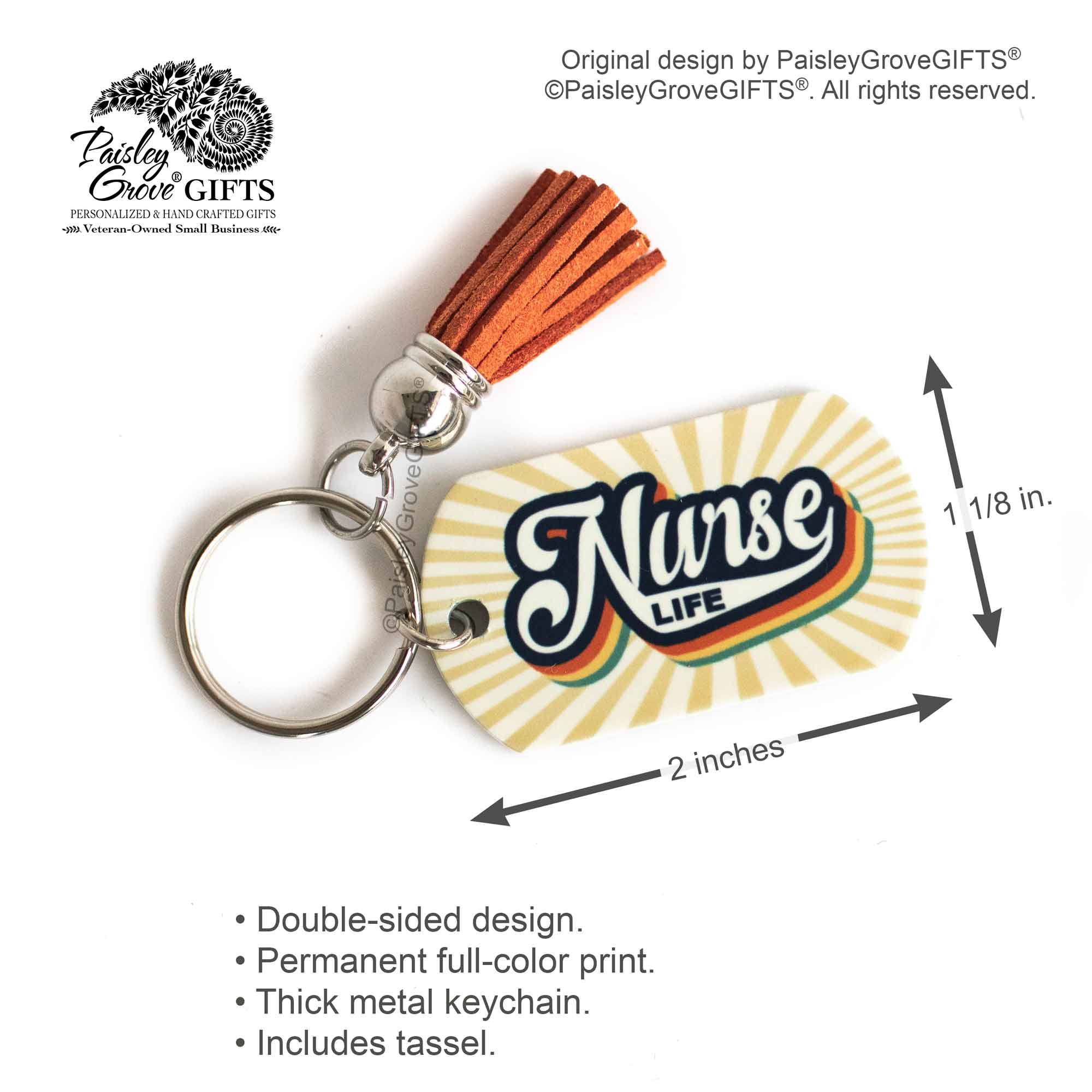 CopyrightPaisleyGroveGIFTS S009n1 Infographics Measurement of NurseLife Key Chain Gift for RN LPN NP