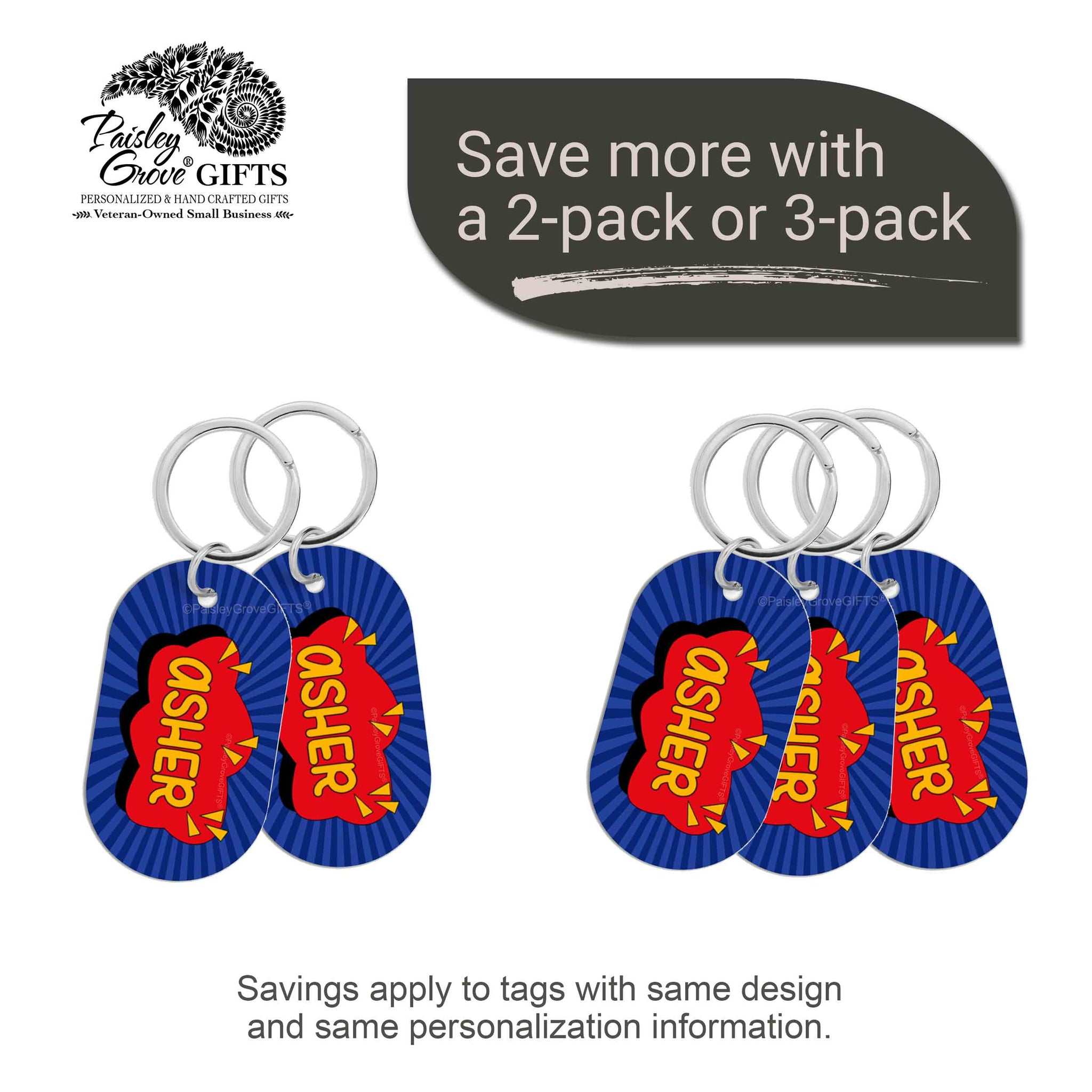 CopyrightPaisleyGroveGIFTS S070a1 Personalized bag ID tags for luggage or bags 2 or 3 pack option savings