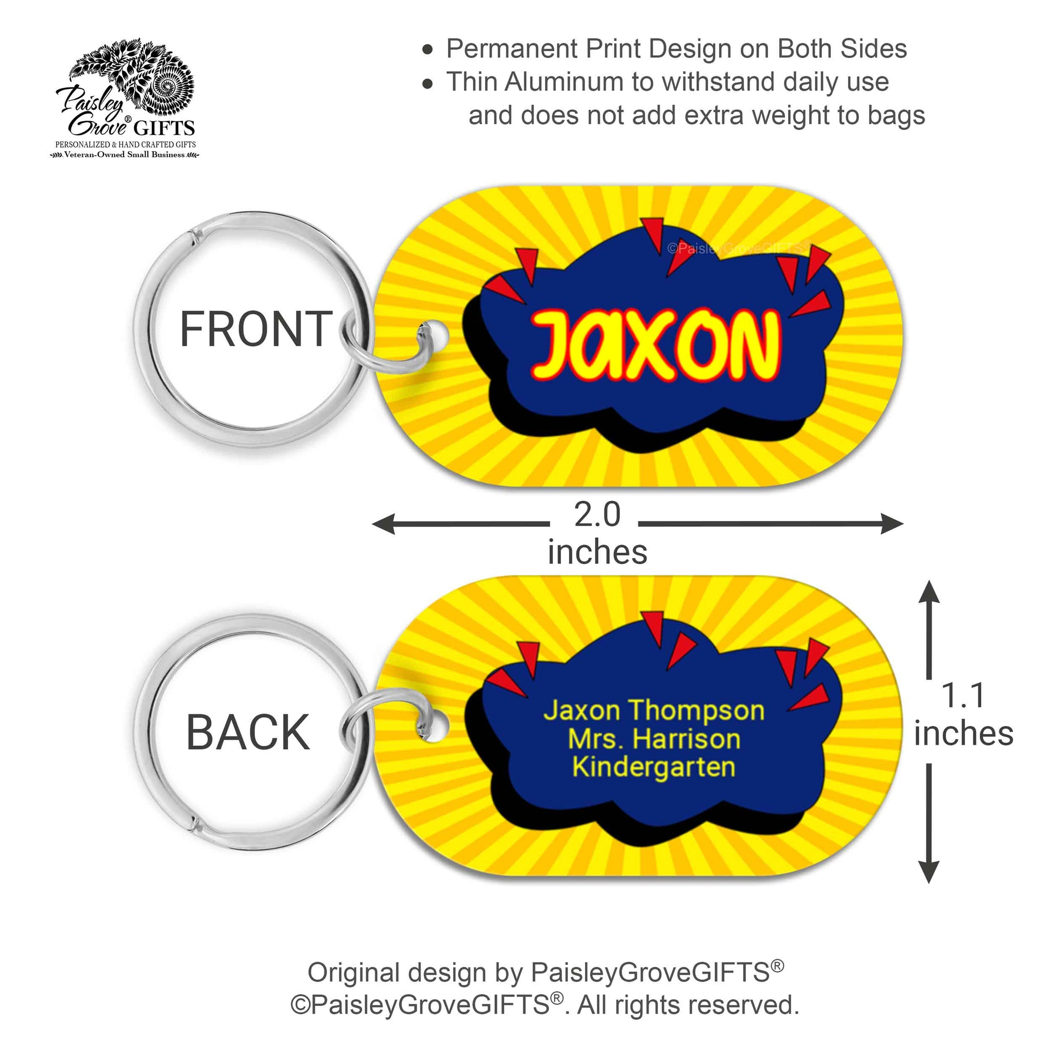 CopyrightPaisleyGroveGIFTS S070a2 Custom bag identification labels for kids school bags measurements
