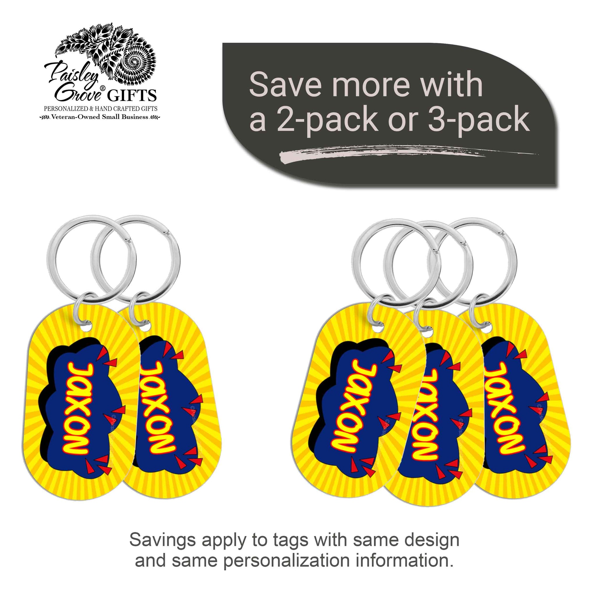 CopyrightPaisleyGroveGIFTS S070a2 Personalized bag ID tags for luggage or bags 2 or 3 pack option savings