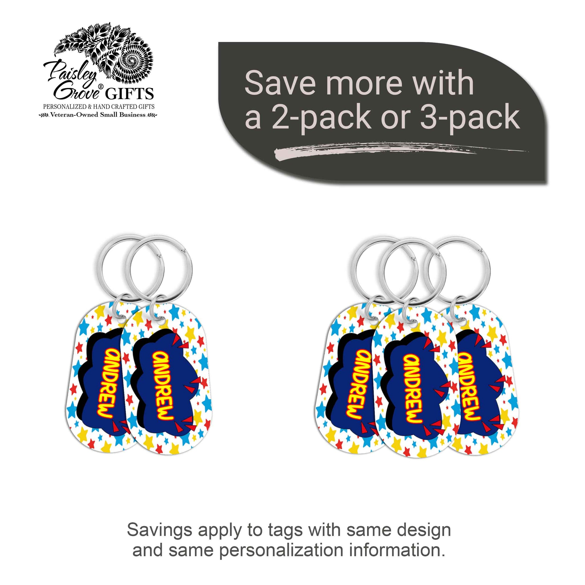 CopyrightPaisleyGroveGIFTS S070a3 Personalized bag ID tags for luggage or bags 2 or 3 pack option savings