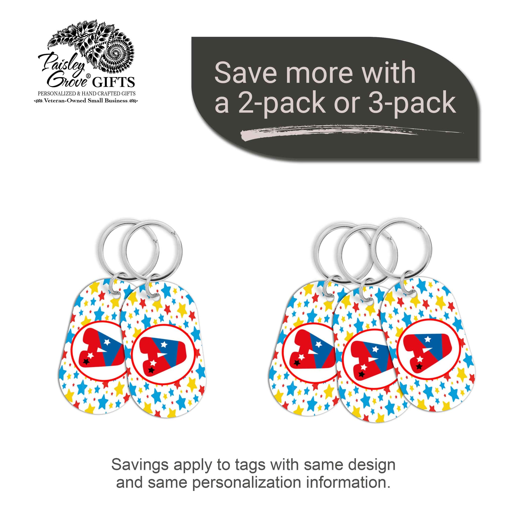 CopyrightPaisleyGroveGIFTS S070a4 Personalized bag ID tags for luggage or bags 2 or 3 pack option savings