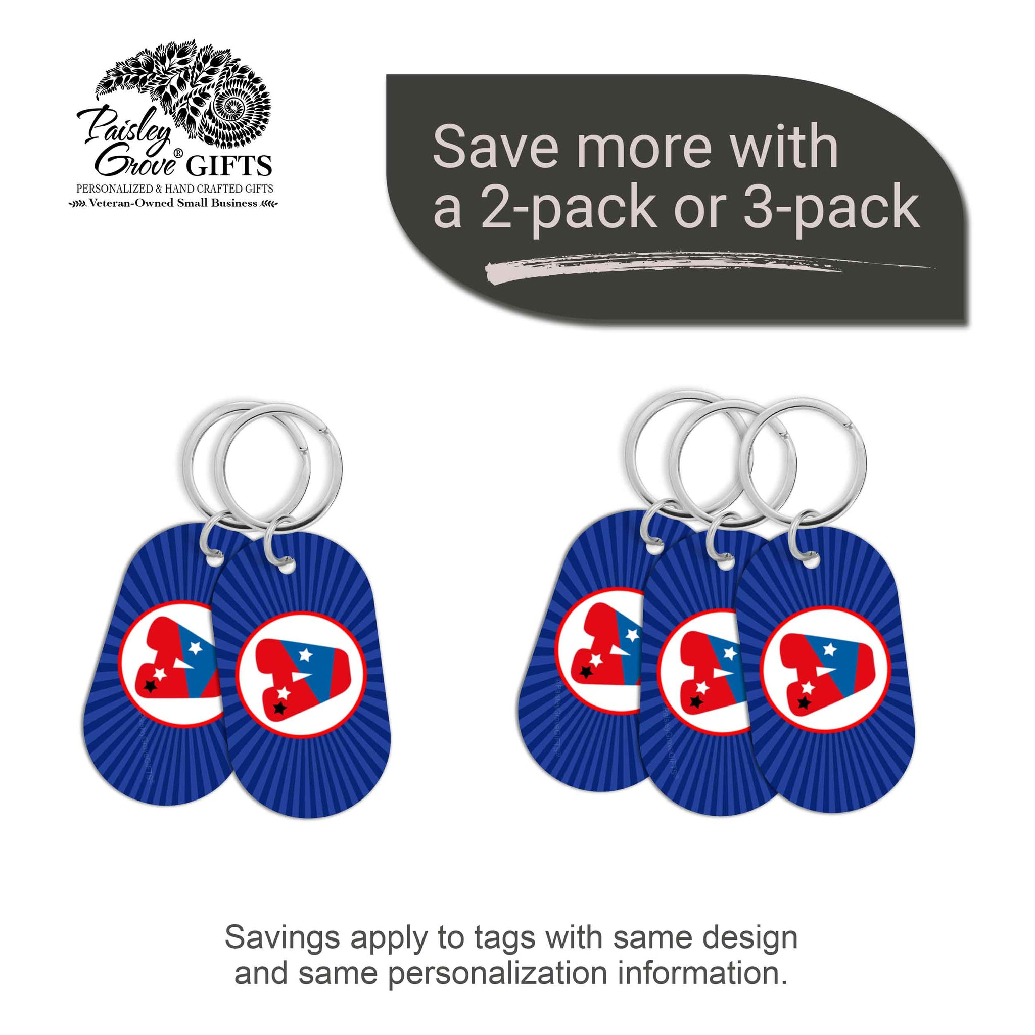 CopyrightPaisleyGroveGIFTS S070a5 Personalized bag ID tags for luggage or bags 2 or 3 pack option savings