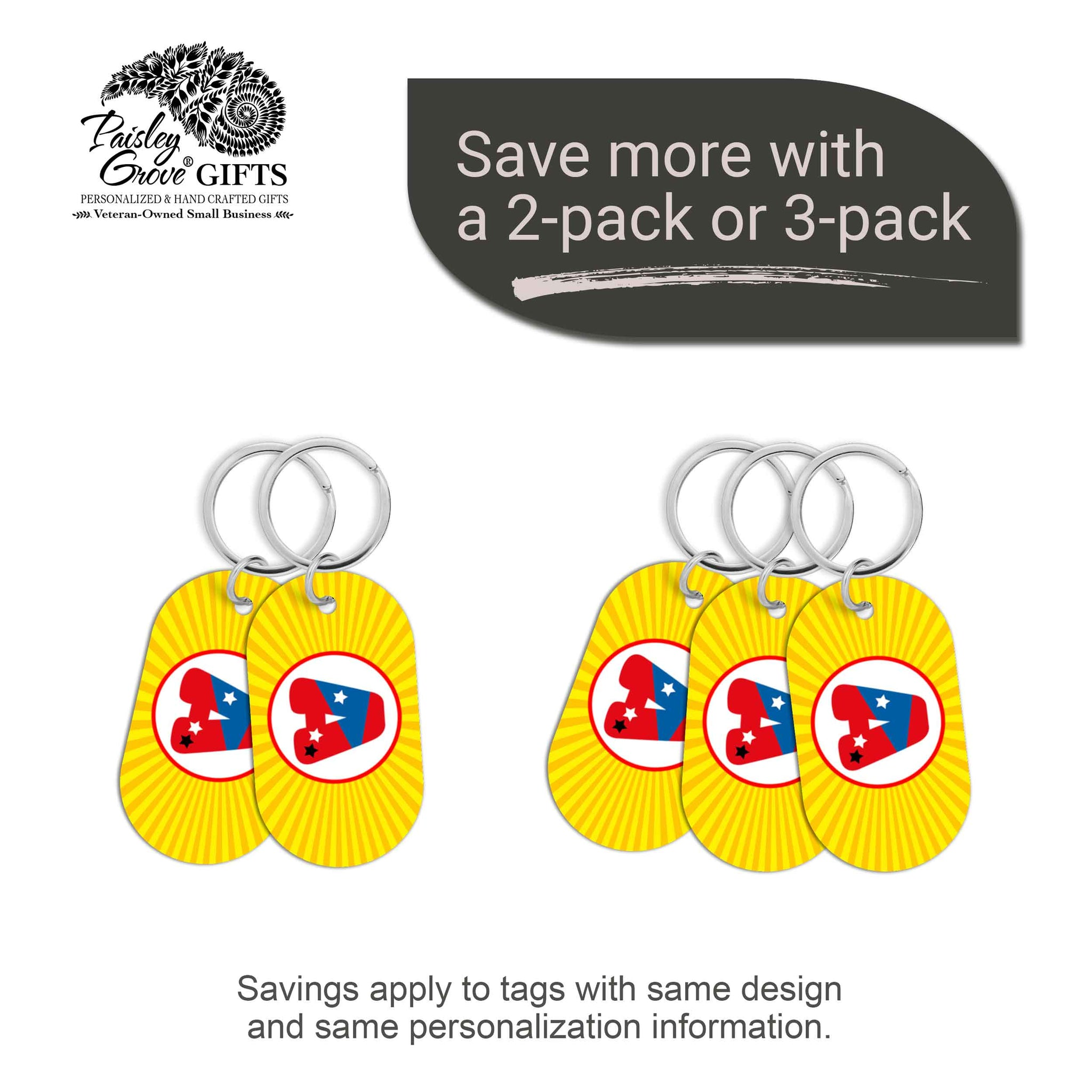 CopyrightPaisleyGroveGIFTS S070a6 Personalized bag ID tags for luggage or bags 2 or 3 pack option savings