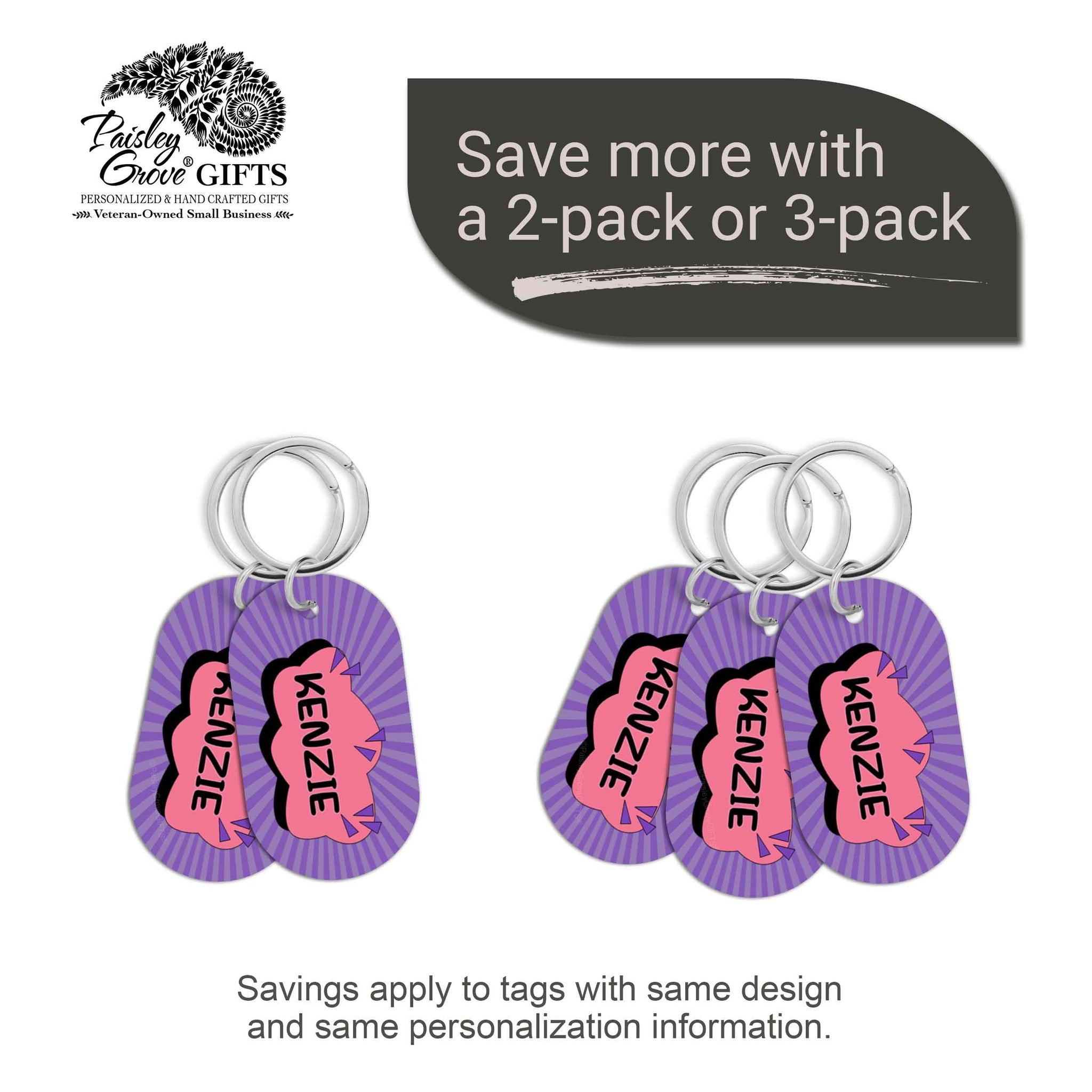 CopyrightPaisleyGroveGIFTS S070b2 Personalized bag ID tags for luggage or bags 2 or 3 pack option savings