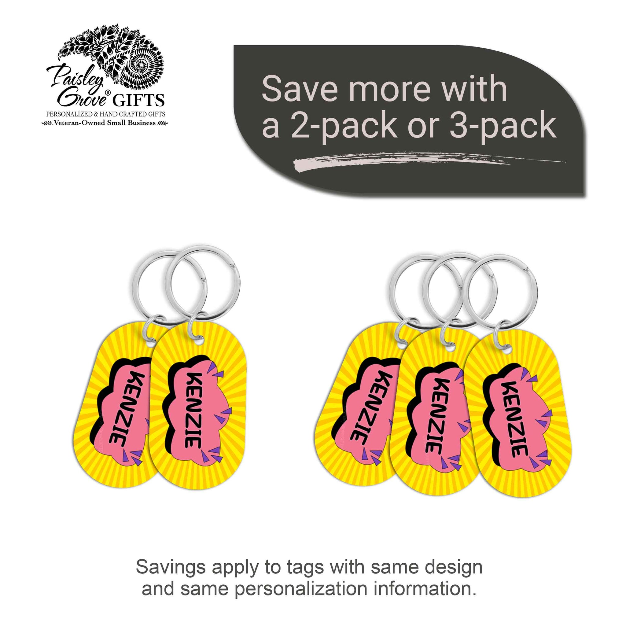CopyrightPaisleyGroveGIFTS S070b3 Personalized bag ID tags for luggage or bags 2 or 3 pack option savings
