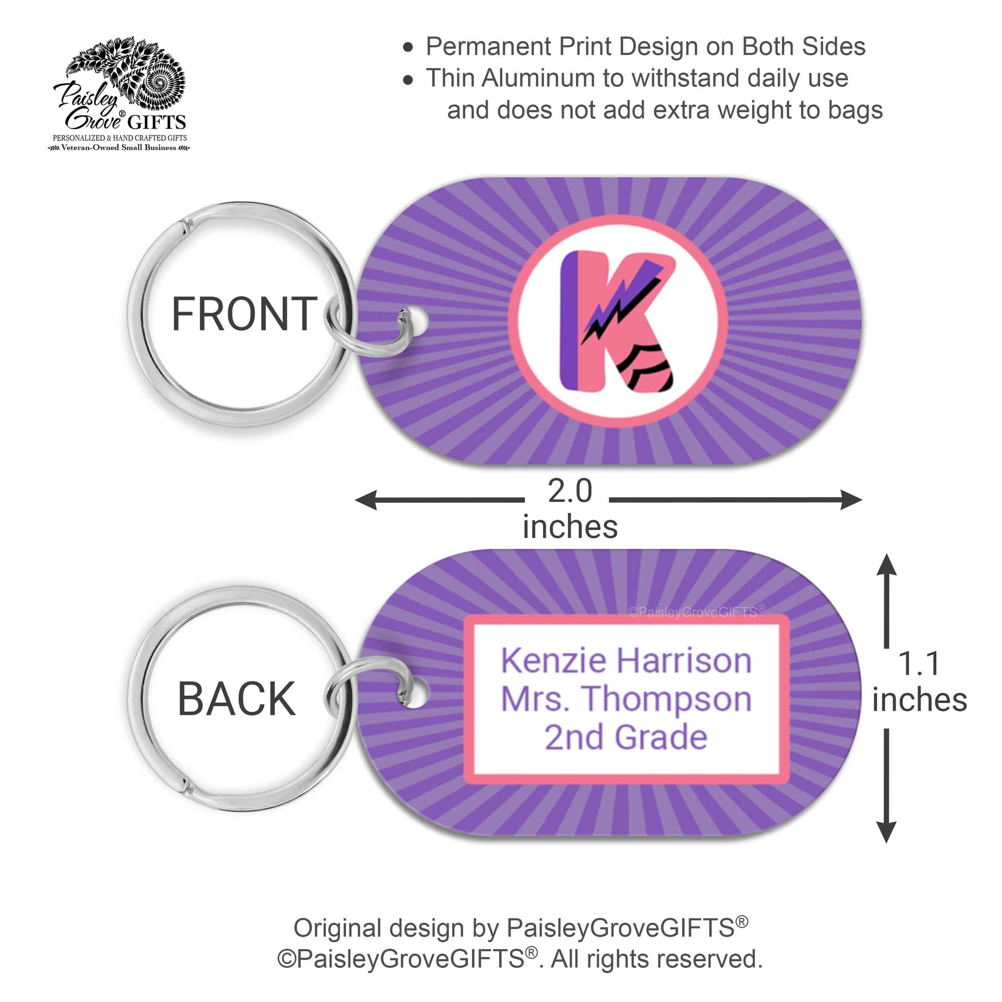 CopyrightPaisleyGroveGIFTS S070b4 Custom bag identification labels for kids school bags measurements