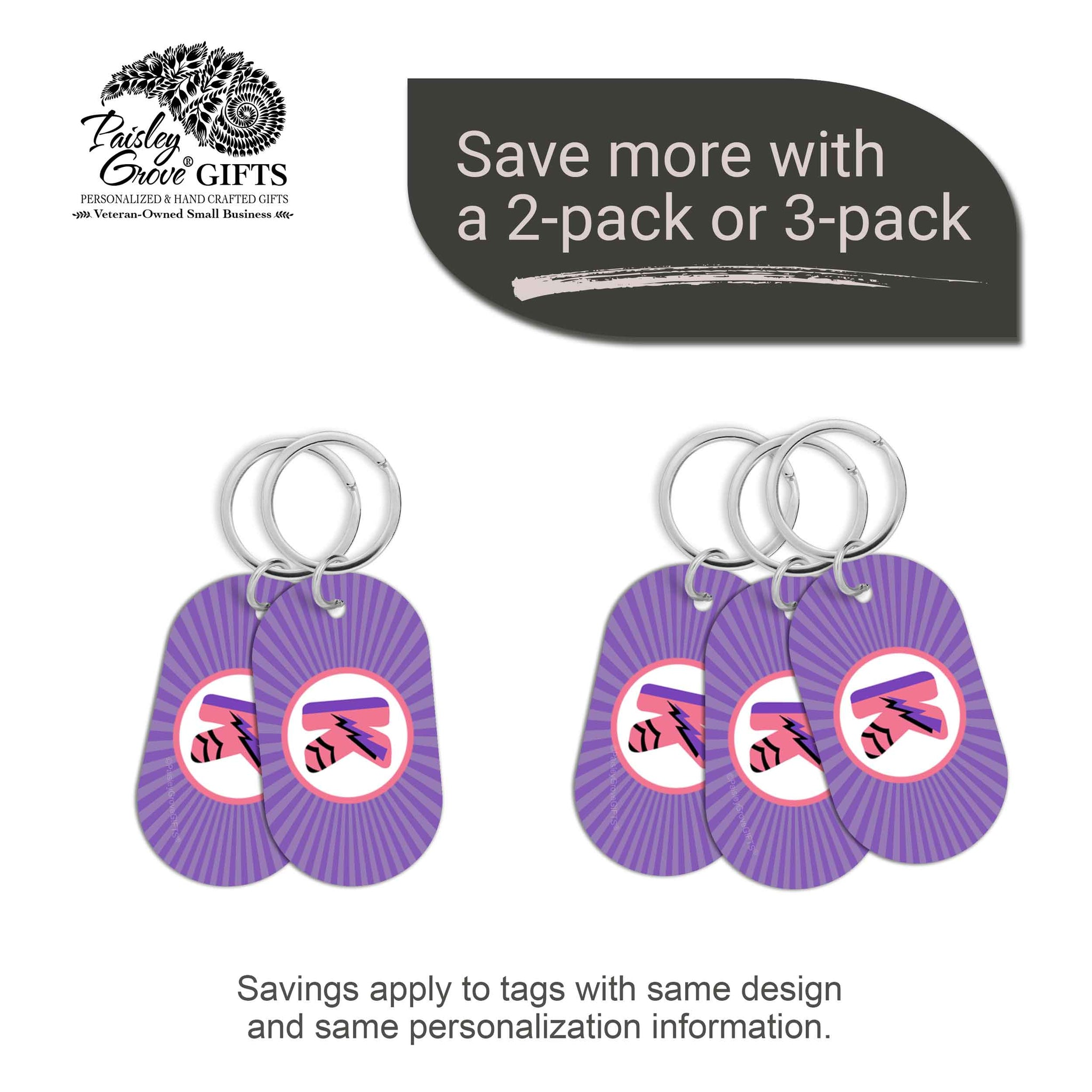 CopyrightPaisleyGroveGIFTS S070b4 Personalized bag ID tags for luggage or bags 2 or 3 pack option savings