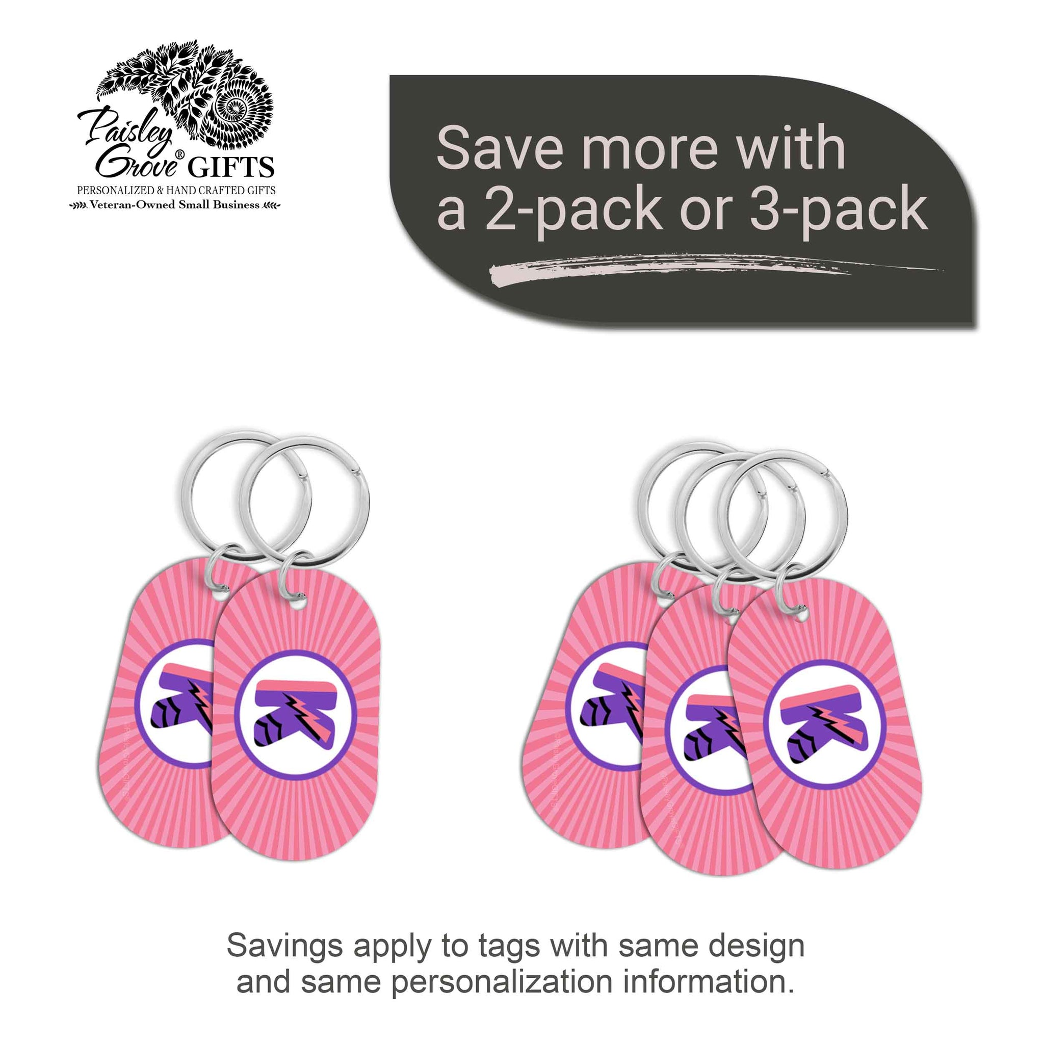 CopyrightPaisleyGroveGIFTS S070b5 Personalized bag ID tags for luggage or bags 2 or 3 pack option savings