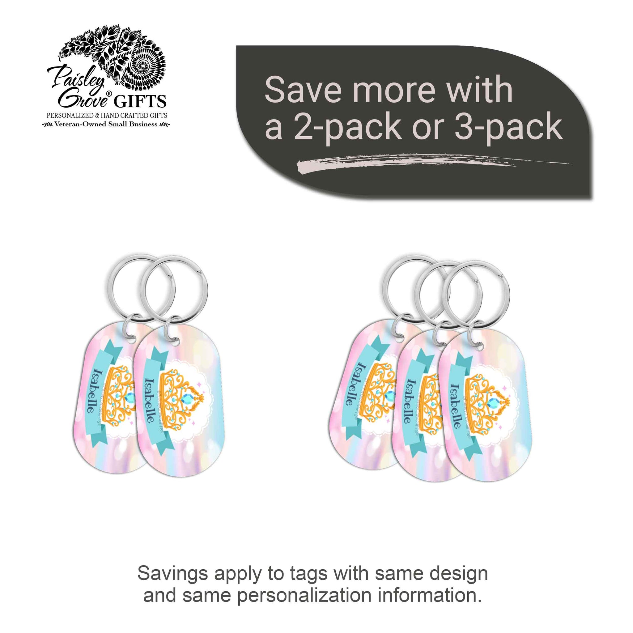 CopyrightPaisleyGroveGIFTS S070c1 Personalized bag ID tags for luggage or bags 2 or 3 pack option savings
