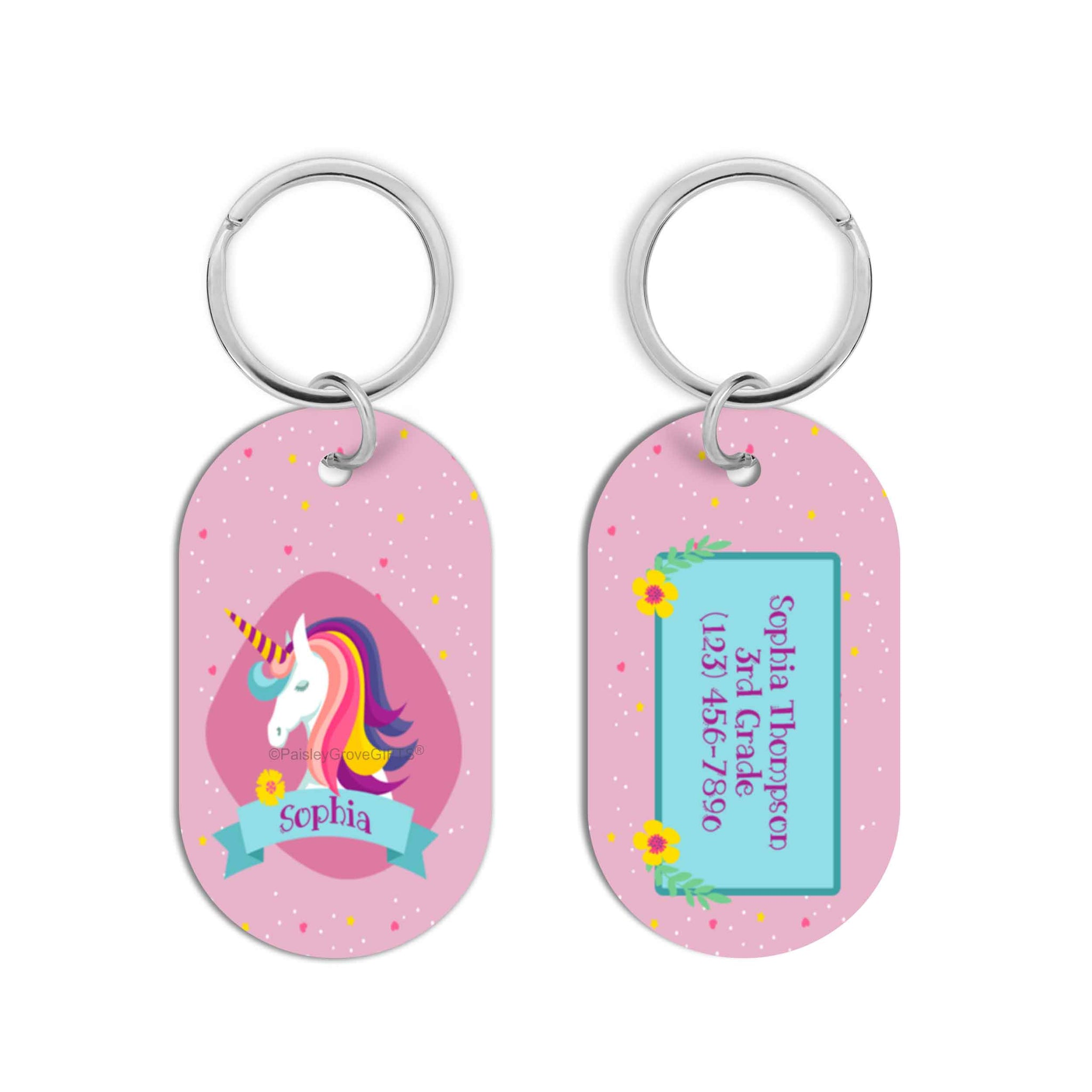 CopyrightPaisleyGroveGIFTS S070d1 Personalized unicorn kids bag luggage tag for backpacks lunch boxes sports bags