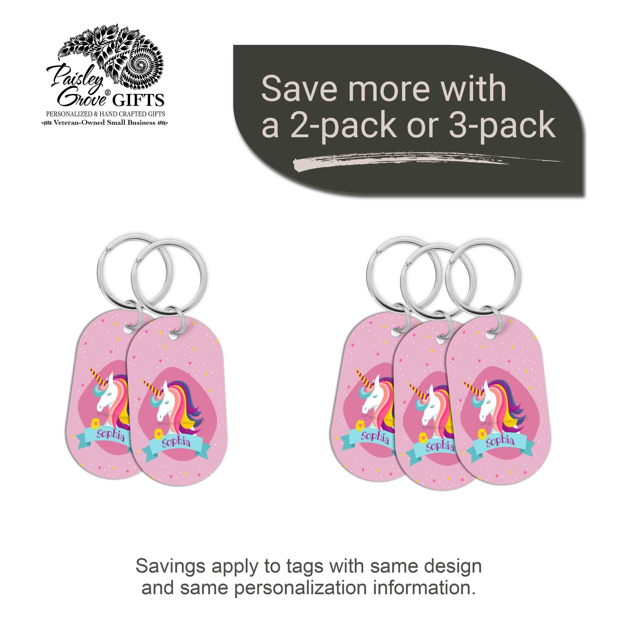 CopyrightPaisleyGroveGIFTS S070d1 Personalized bag ID tags for luggage or bags 2 or 3 pack option savings