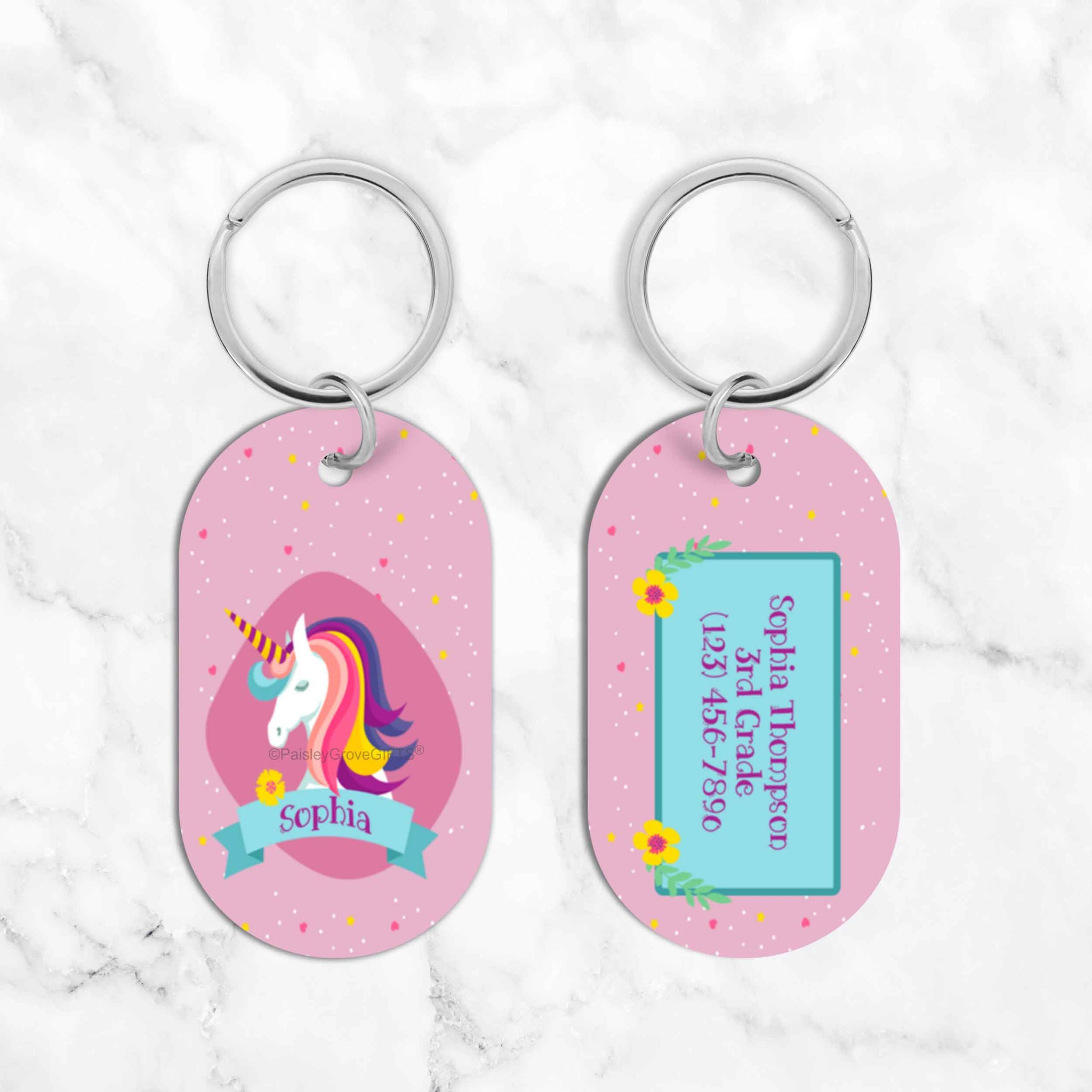 CopyrightPaisleyGroveGIFTS S070d1 Unique Kids Luggage Tags and Bag Tags for Backpacks Lunch boxes Sports and Dance Bags