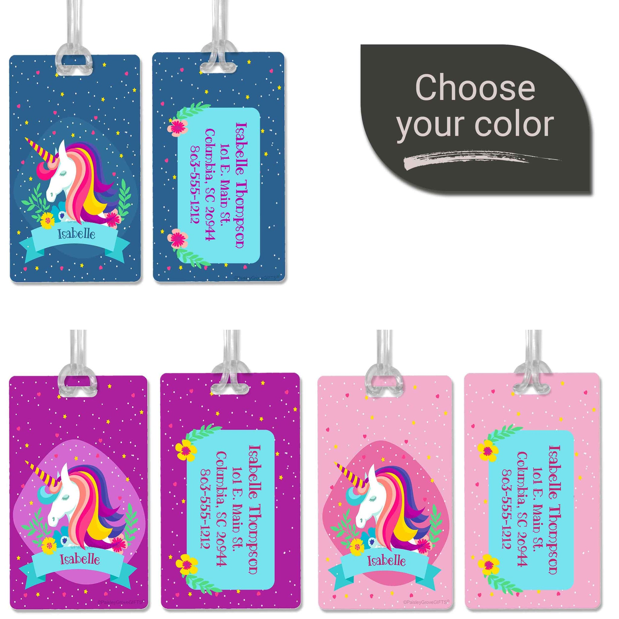 CopyrightPaisleyGroveGIFTS S150abc Personalized luggage tag blue purple pink unicorn bag tag for girls