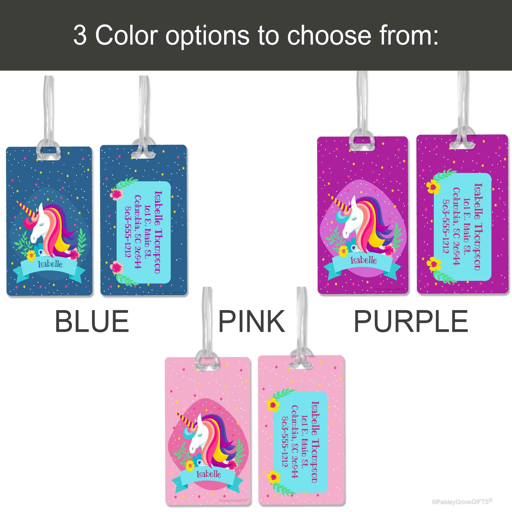 CopyrightPaisleyGroveGIFTS S150abc Pink Blue Purple Unicorn Luggage Tags Bag ID for Girls Color Options
