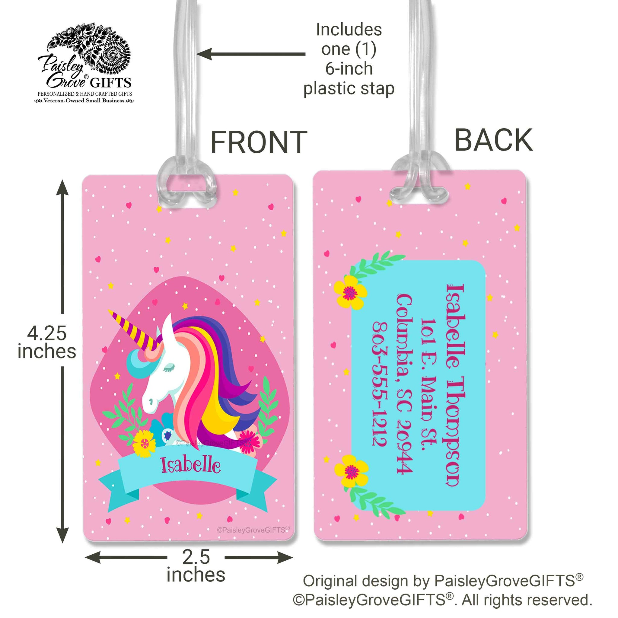 CopyrightPaisleyGroveGIFTS S150b Pink Unicorn Luggage Tag personalized cruise tag for girls