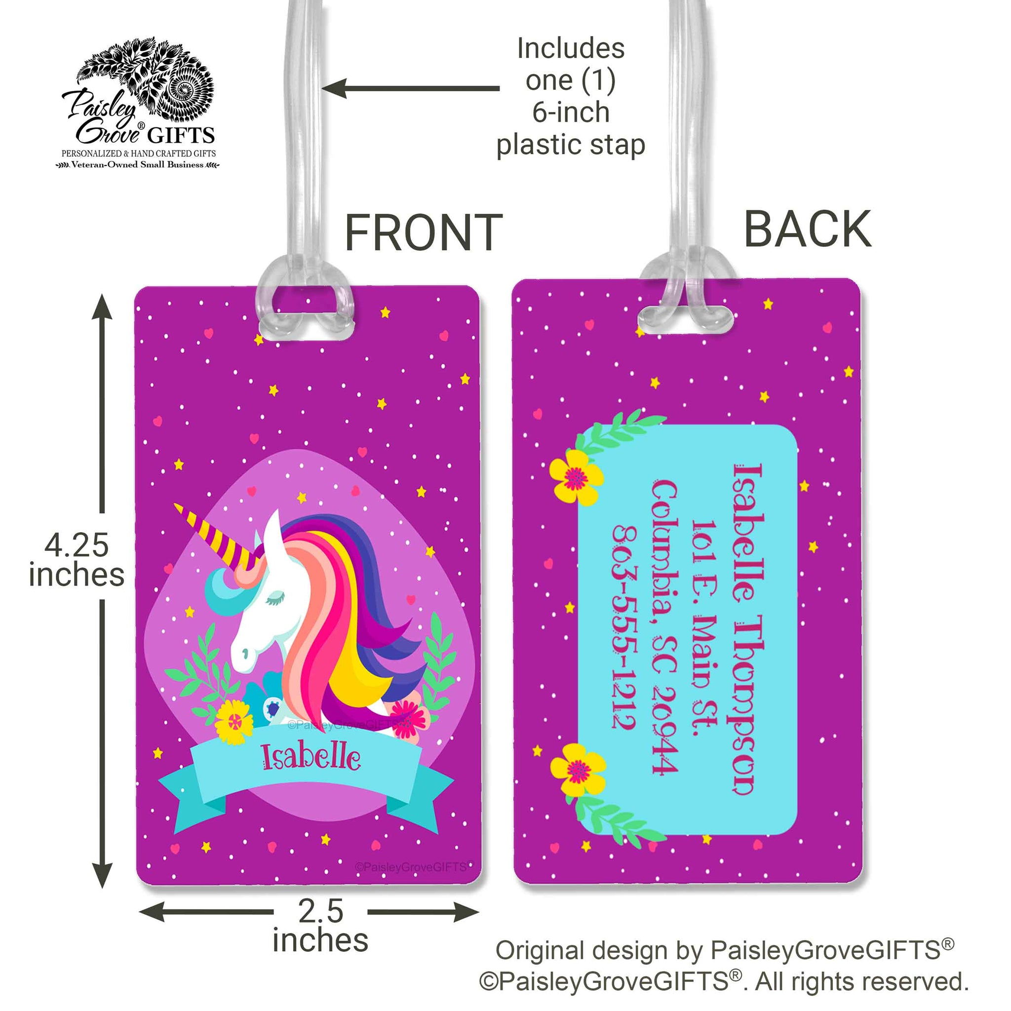 CopyrightPaisleyGroveGIFTS S150c Purple Unicorn Luggage Tag customized tween gift travel bag identification ID tag