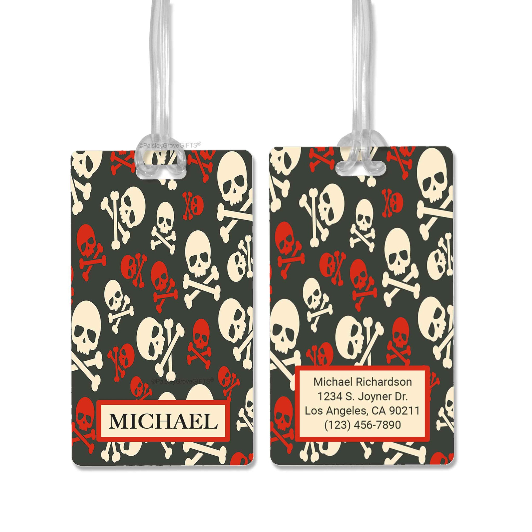 CopyrightPaisleyGroveGIFTS S152a1 Personalized luggage tag black and red pirates skull and bones